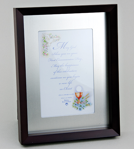 4 in x 6 in First Communion Rosewood Shadowbox Photo Frame