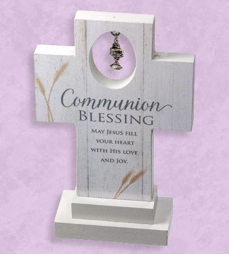 6in WOOD COMMUNION BLESSING STANDING CROSS