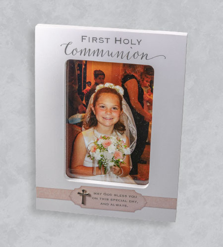 5X7 WOOD GIRL FIRST COMMUNION FRAME WITH PINK RIBBON & CROSS-HOLDS 4X6 PHOTO