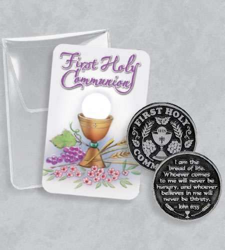 FIRST COMMUNION POCKET TOKEN WITH CARD IN POUCH