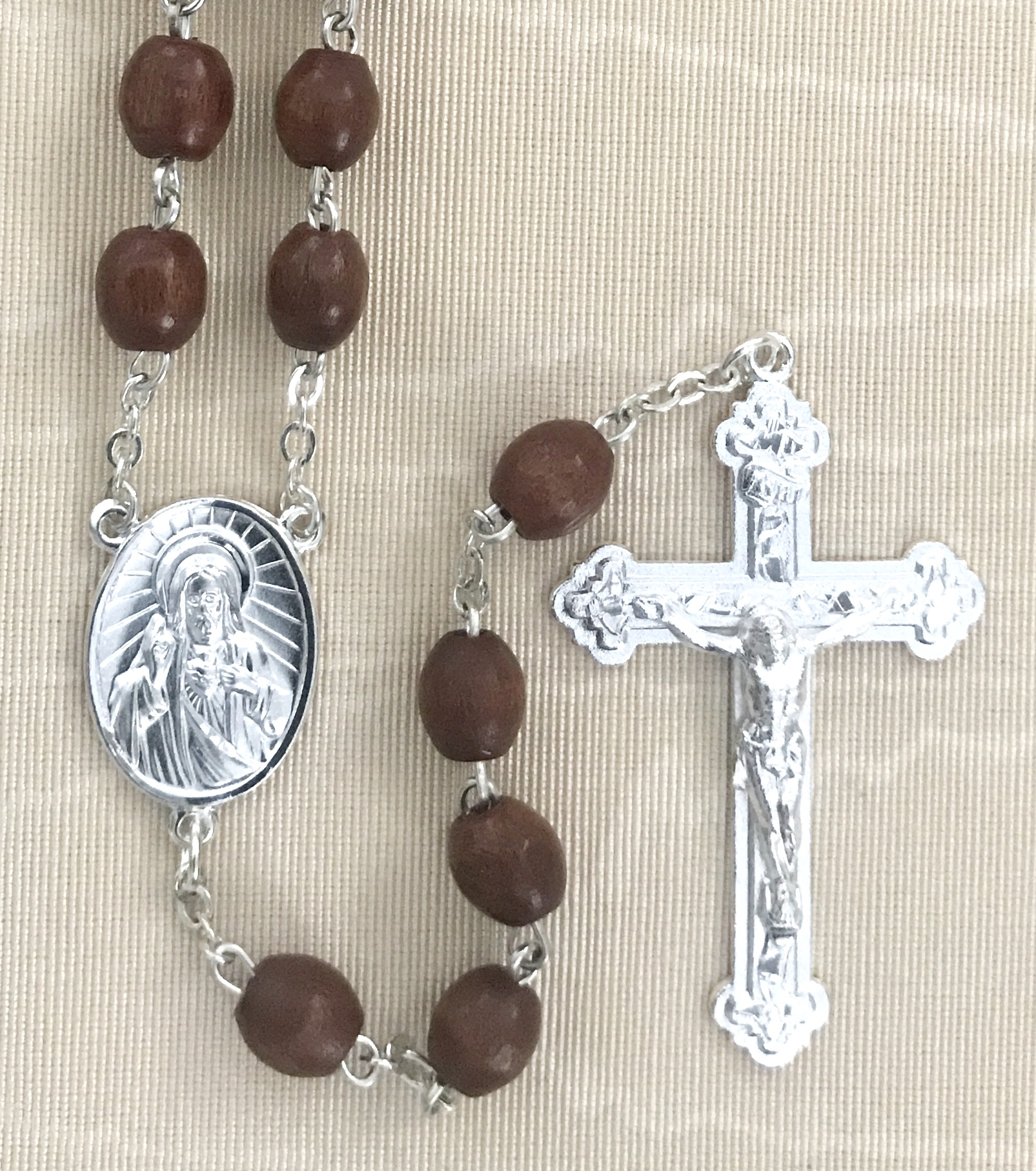 9x6mm BROWN WOOD ROSARY WITH STERLING SILVER PLATED CRUCIFIX AND CENTER GIFT BOXED