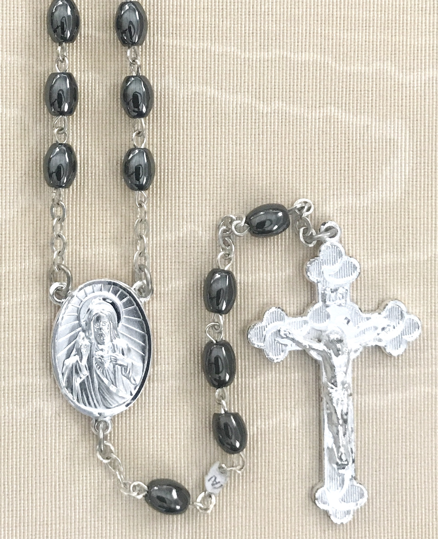 5 X 7MM HEMATITE ROSARY WITH STERLING SILVER PLATED CRUCIFIX AND CENTER GIFT BOXED