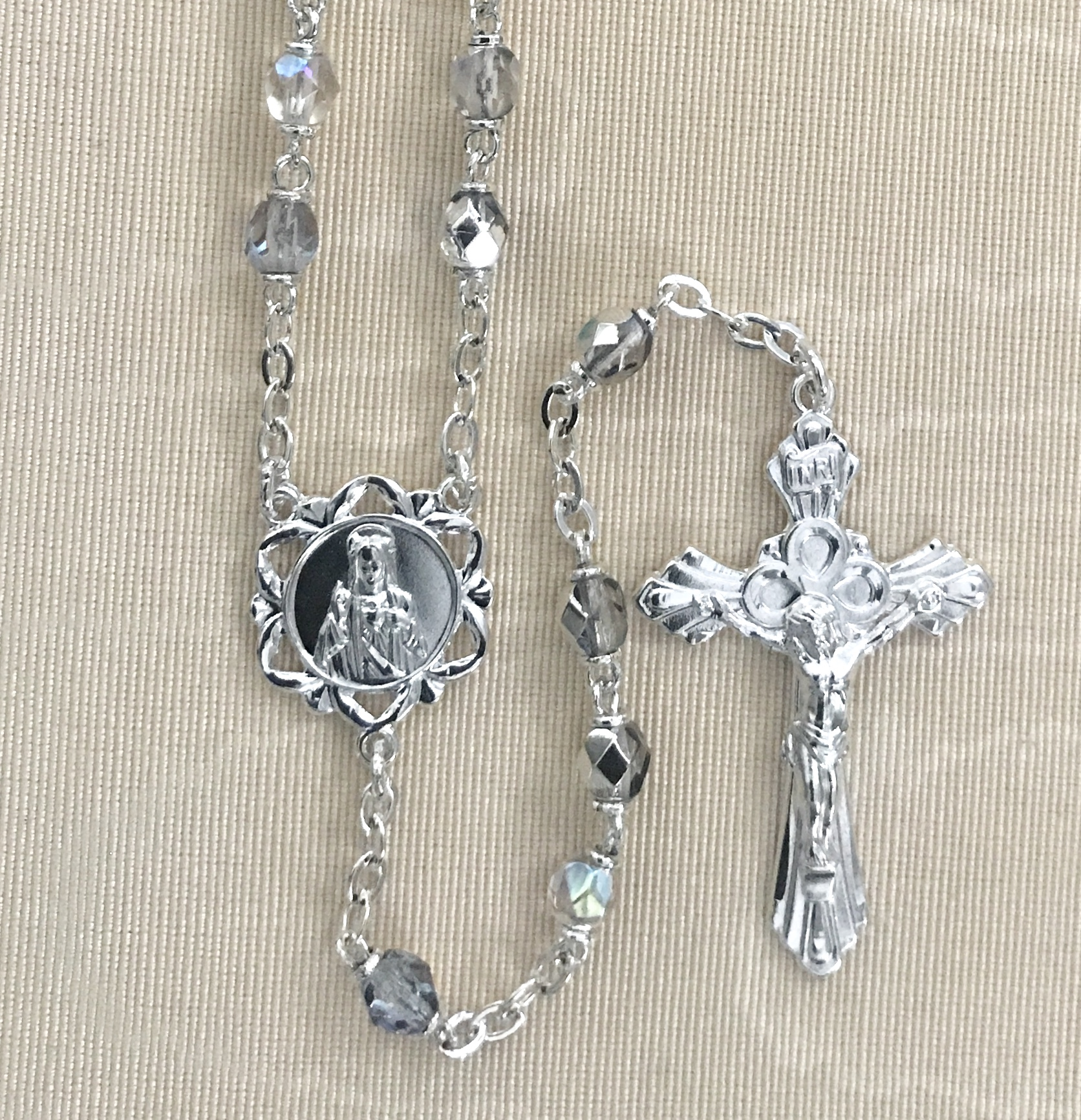 6mm ROUND CRYSTAL AB ROSARY WITH STERLING SILVER PLATED CENTER AND CRUCIFIX GIFT BOXED
