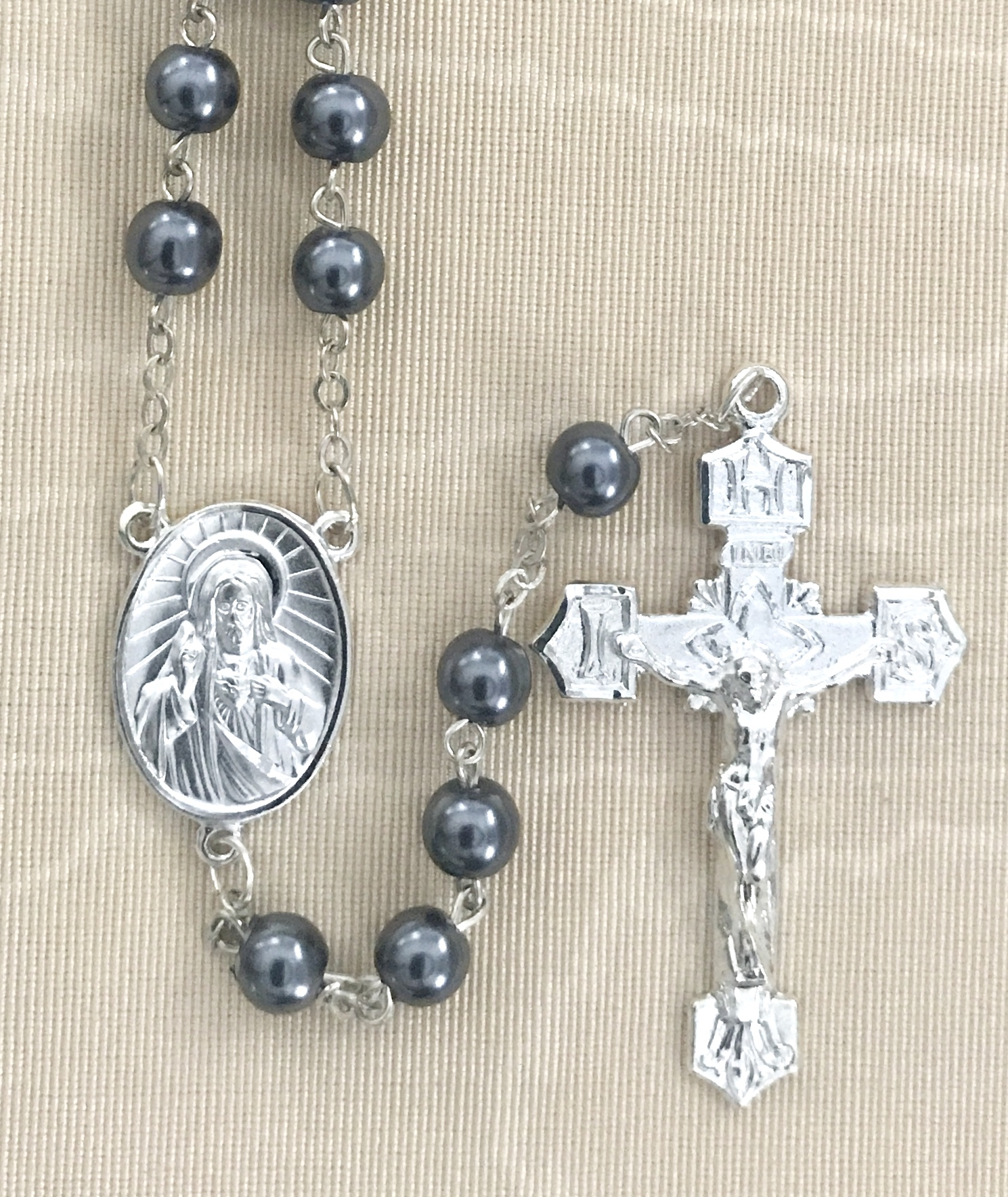 6mm HEMATITE ROSARY WITH STERLING SILVER PLATED CENTER AND CRUCIFIX GIFT BOXED