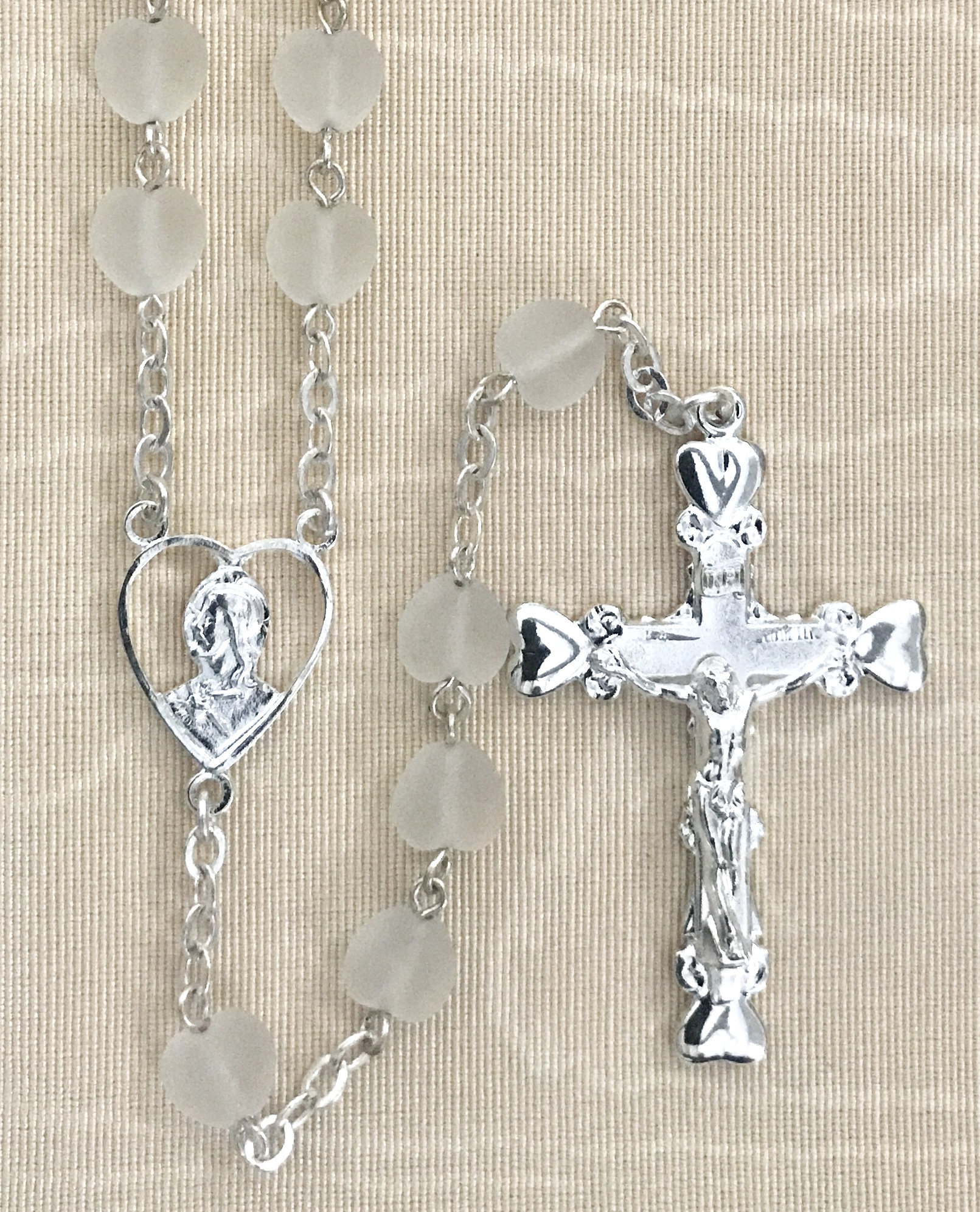 8x8mm HEART SHAPE FROSTED CRYSTAL ROSARY WITH STERLING SILVER PLATED CENTER & CRUCIFIX GIFT BOXED
