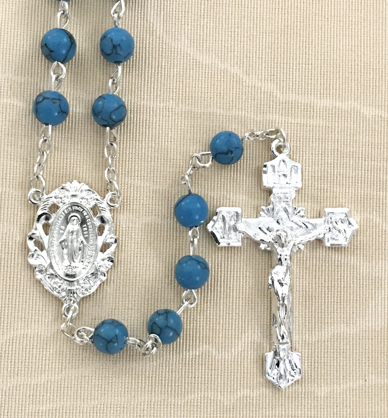 6mm TURQUOISE GEMSTONE ROSARY WITH STERLING SILVER PLATED CRUCIFIX AND CENTER GIFT BOXED