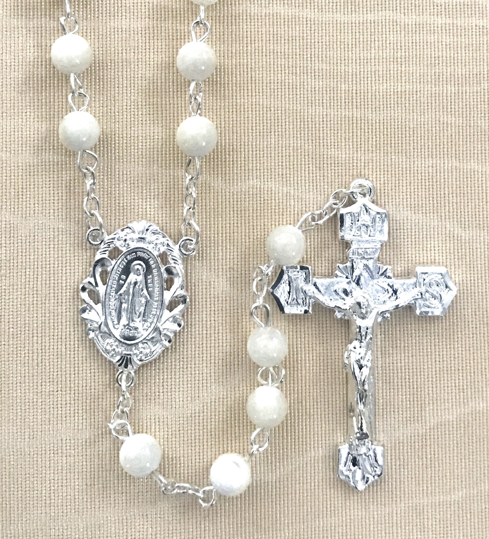 6MM MOTHER OF PEARL GEMSTONE ROSARY WITH STERLING SILVER PLATED CRUCIFIX AND CENTER GIFT BOXED