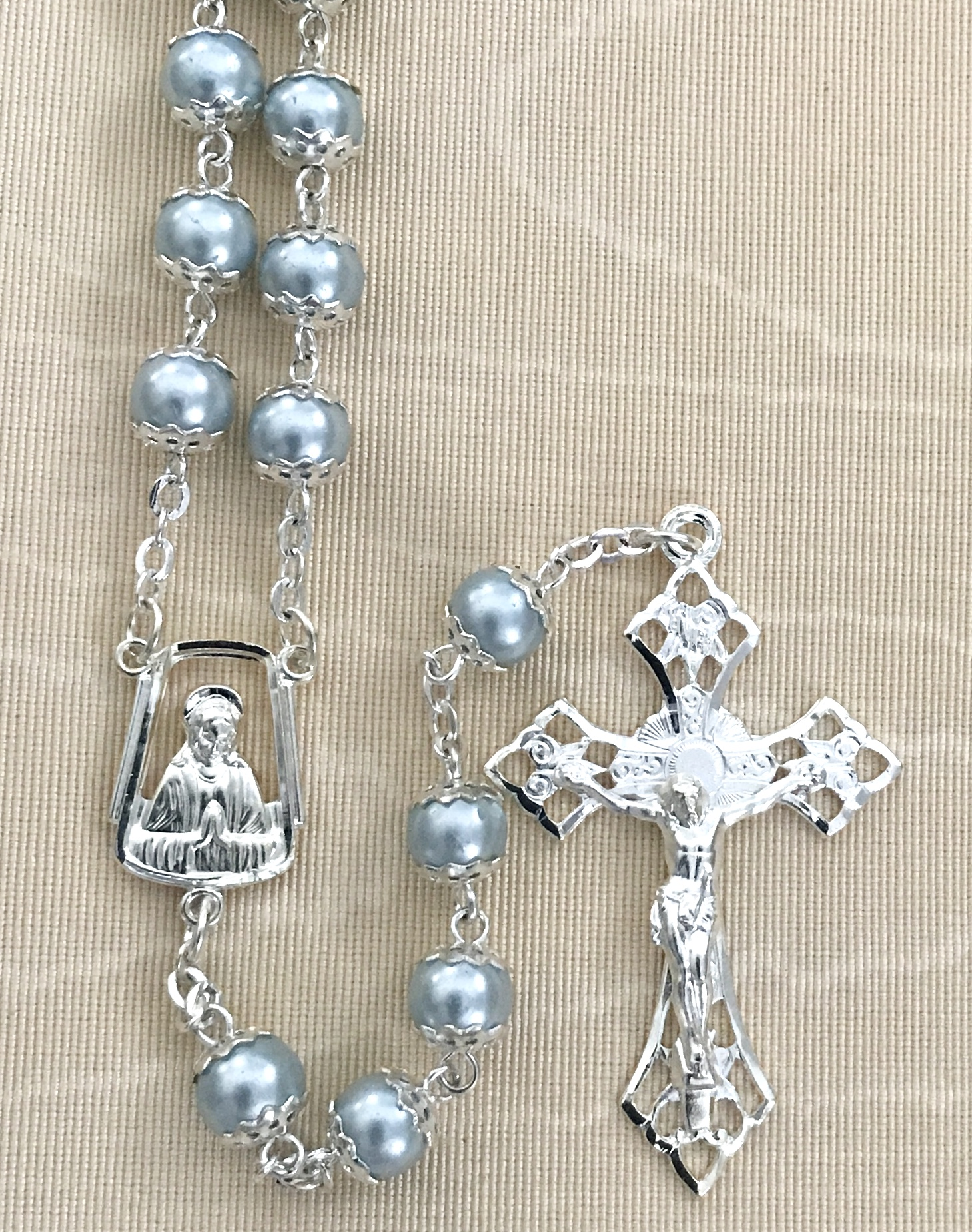7mm BLUE PEARL DOUBLE CAPPED ROSARY WITH STERLING SILVER PLATED CRUCIFIX AND CENTER GIFT BOXED