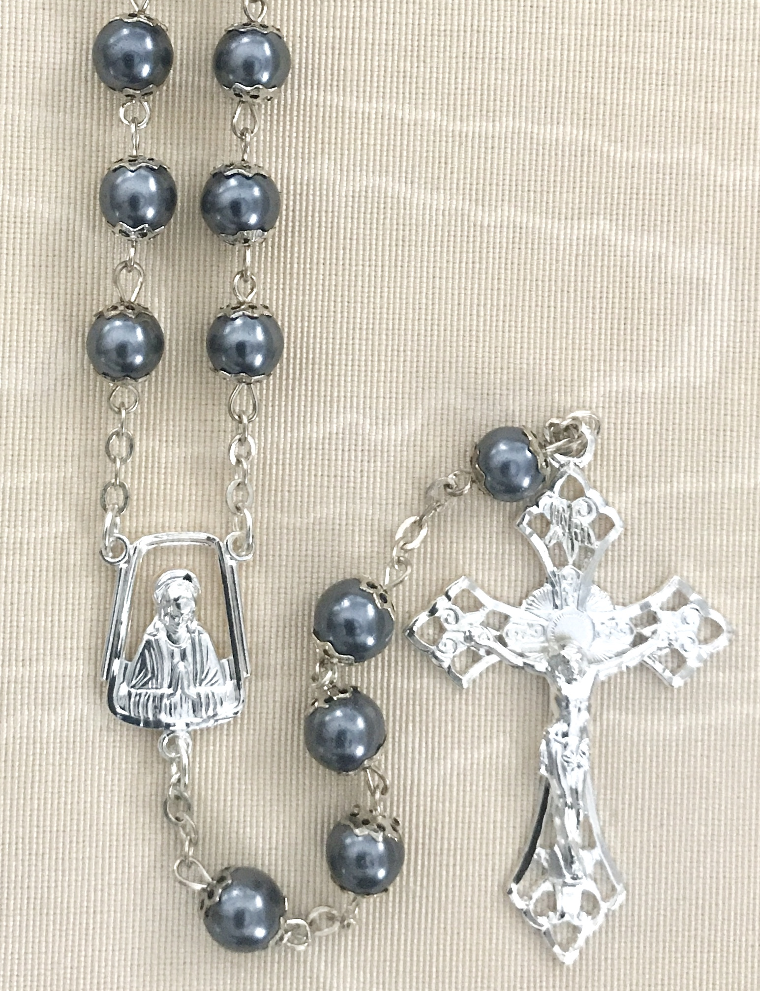 7mm GREY PEARL DOUBLE CAPPED ROSARY WITH STERLING SILVER PLATED CRUCIFIX AND CENTER GIFT BOXED