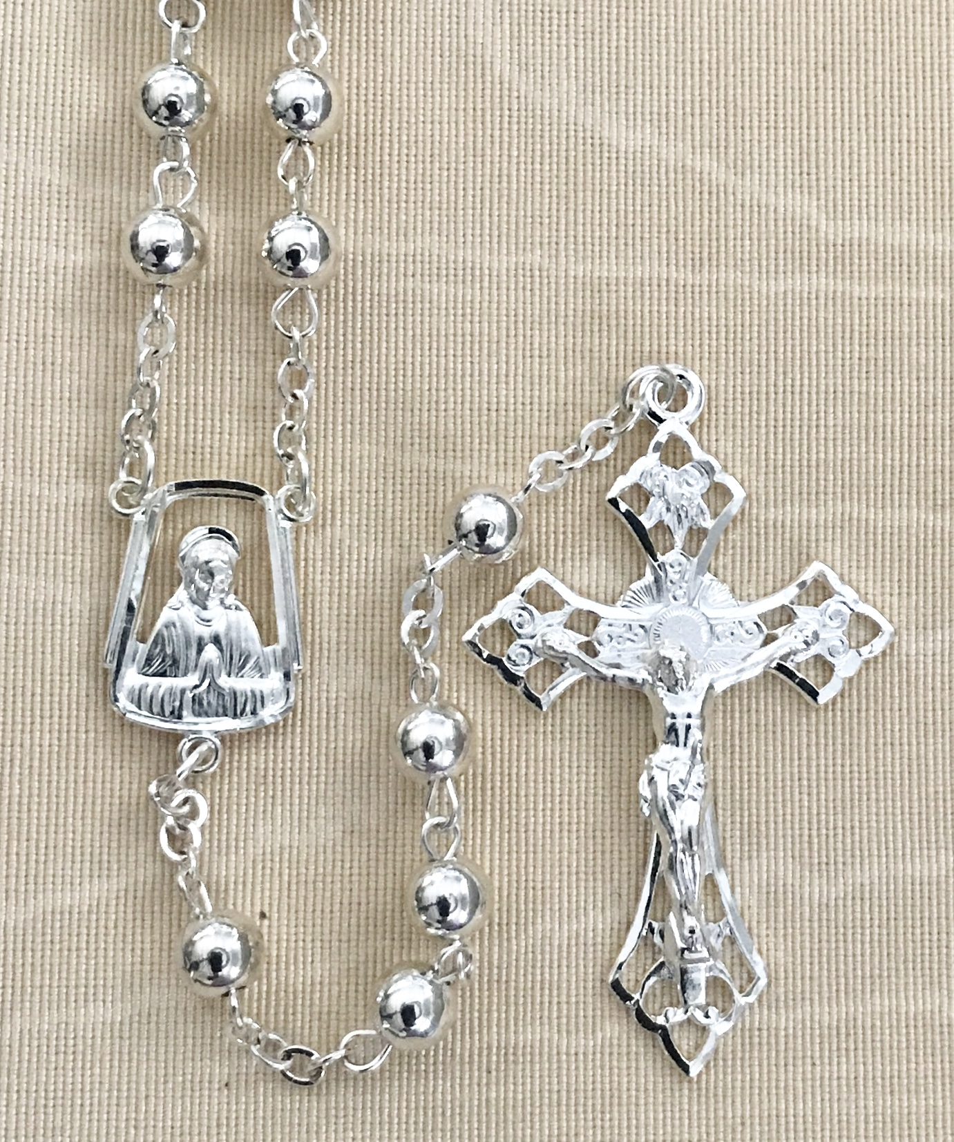 6mm SILVER BEAD ROSARY WITH STERLING SILVER PLATED CRUCIFIX AND CENTER GIFT BOXED