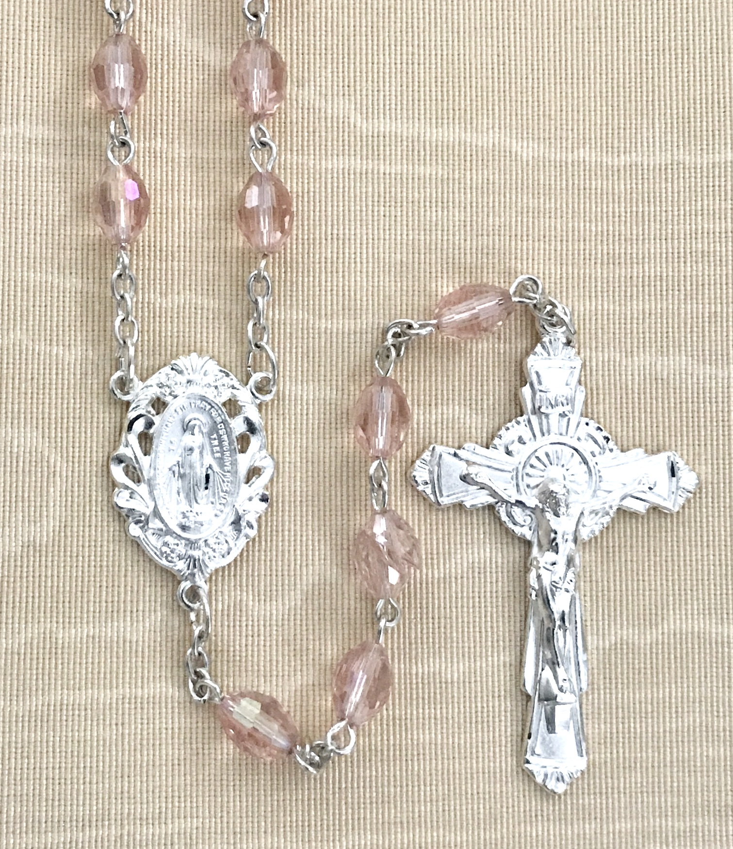 7x5mm TIN CUT ROSE ROSARY WITH STERLING SILVER PLATED CRUCIFIX AND CENTER GIFT BOXED