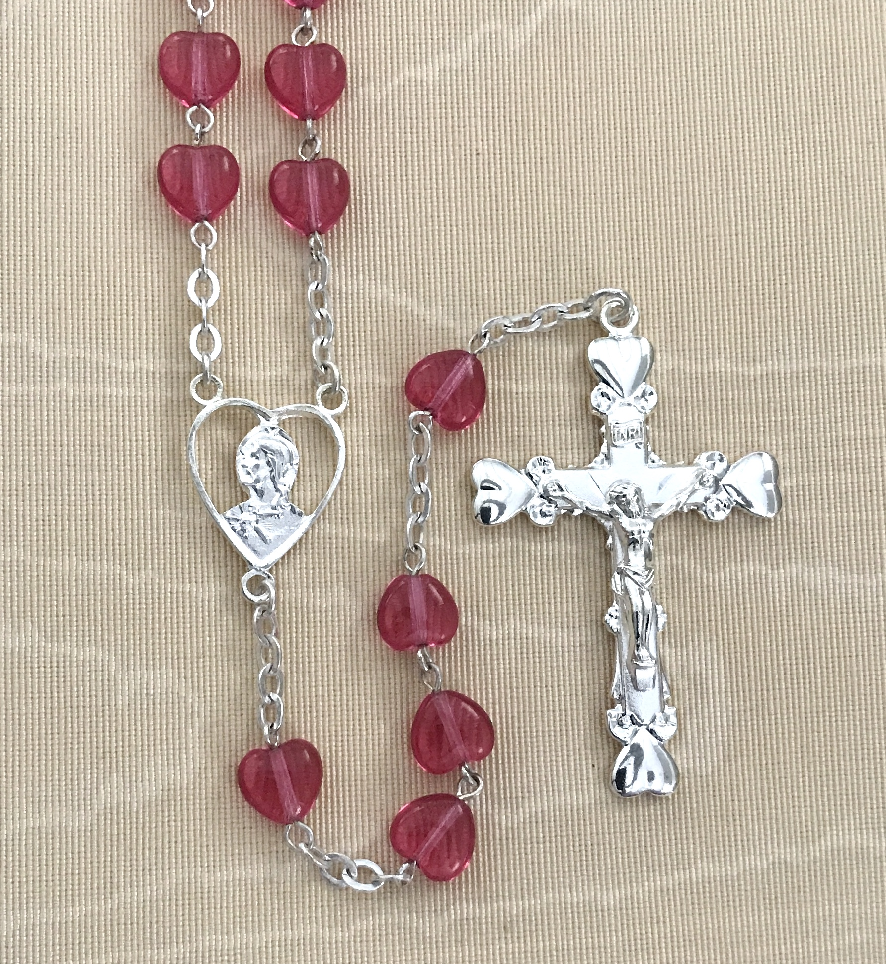 7mm ROSE HEART SHAPED ROSARY WITH STERLING SILVER PLATED CRUCIFIX AND CENTER GIFT BOXED