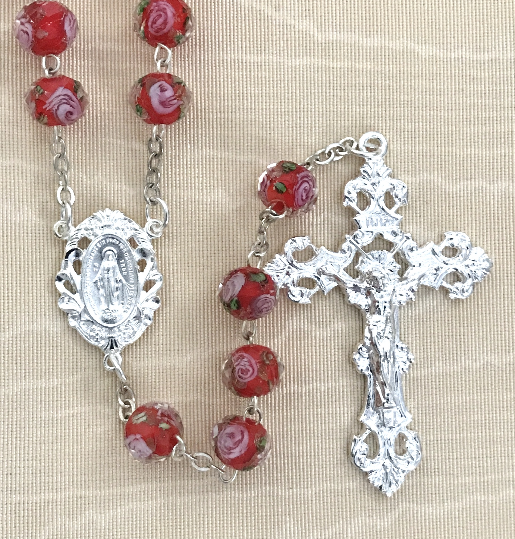 10x8MM RUBY HAND PAINTED ROSE  ROSARY WITH STERLING SILVER PLATED CRUCIFIX AND CENTER GIFT BOXED