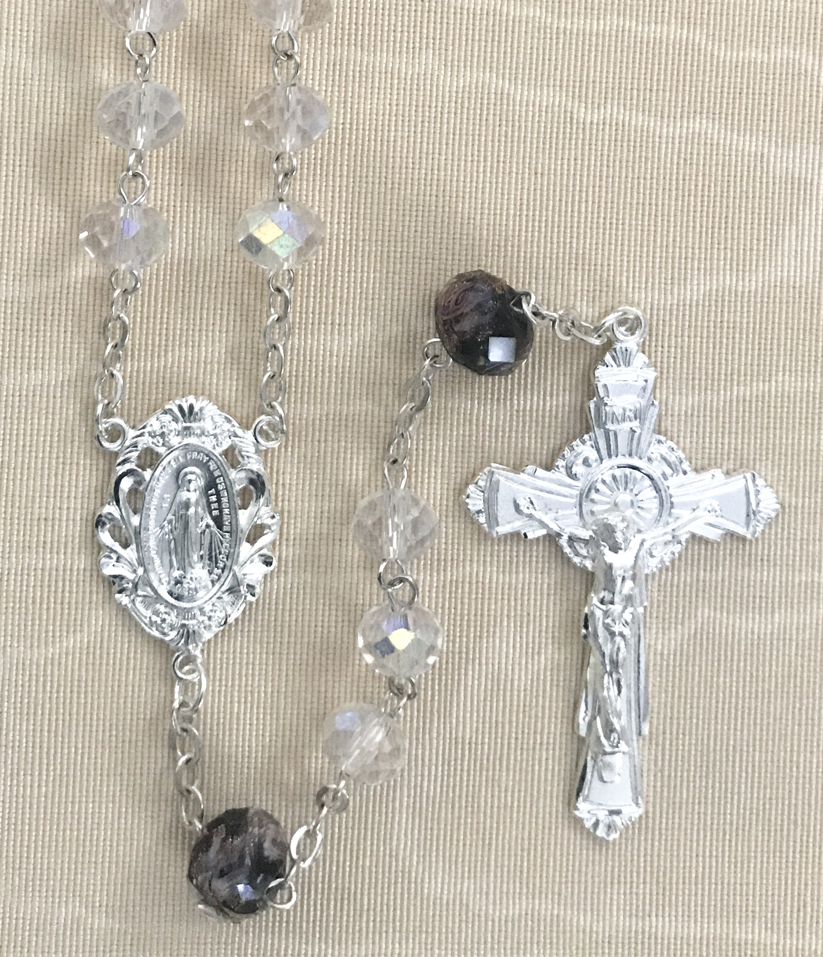8X6 TIN CUT AB CRYSTAL ROSARY WITH STERLING SILVER PLATED CRUCIFIX AND CENTER GIFT BOXED