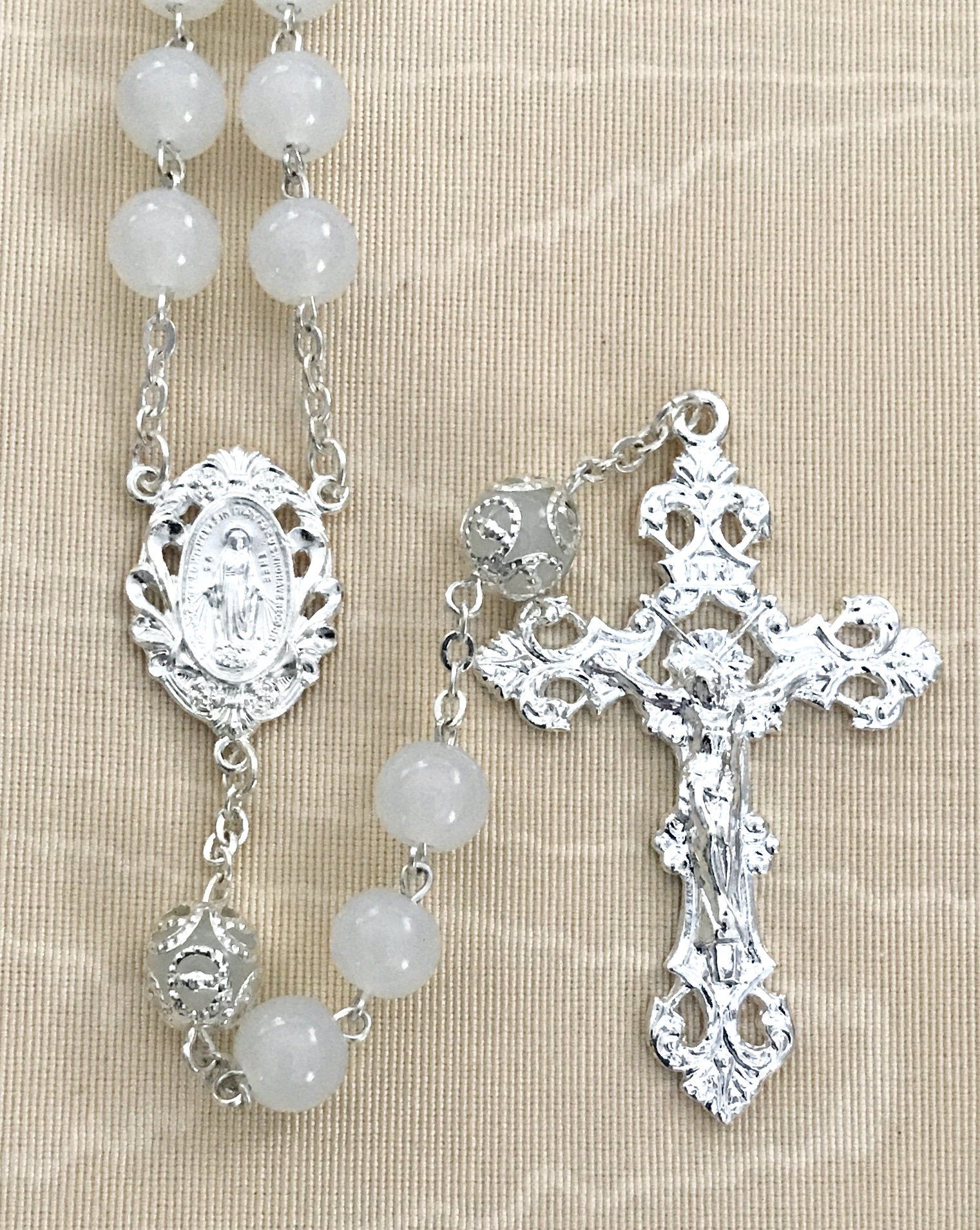 8mm WHITE GLASS ROSARY WITH CAPPED OUR FATHER BEADS AND STERLING SILVER PLATED CRUCIFIX AND CENTER GIFT BOXED