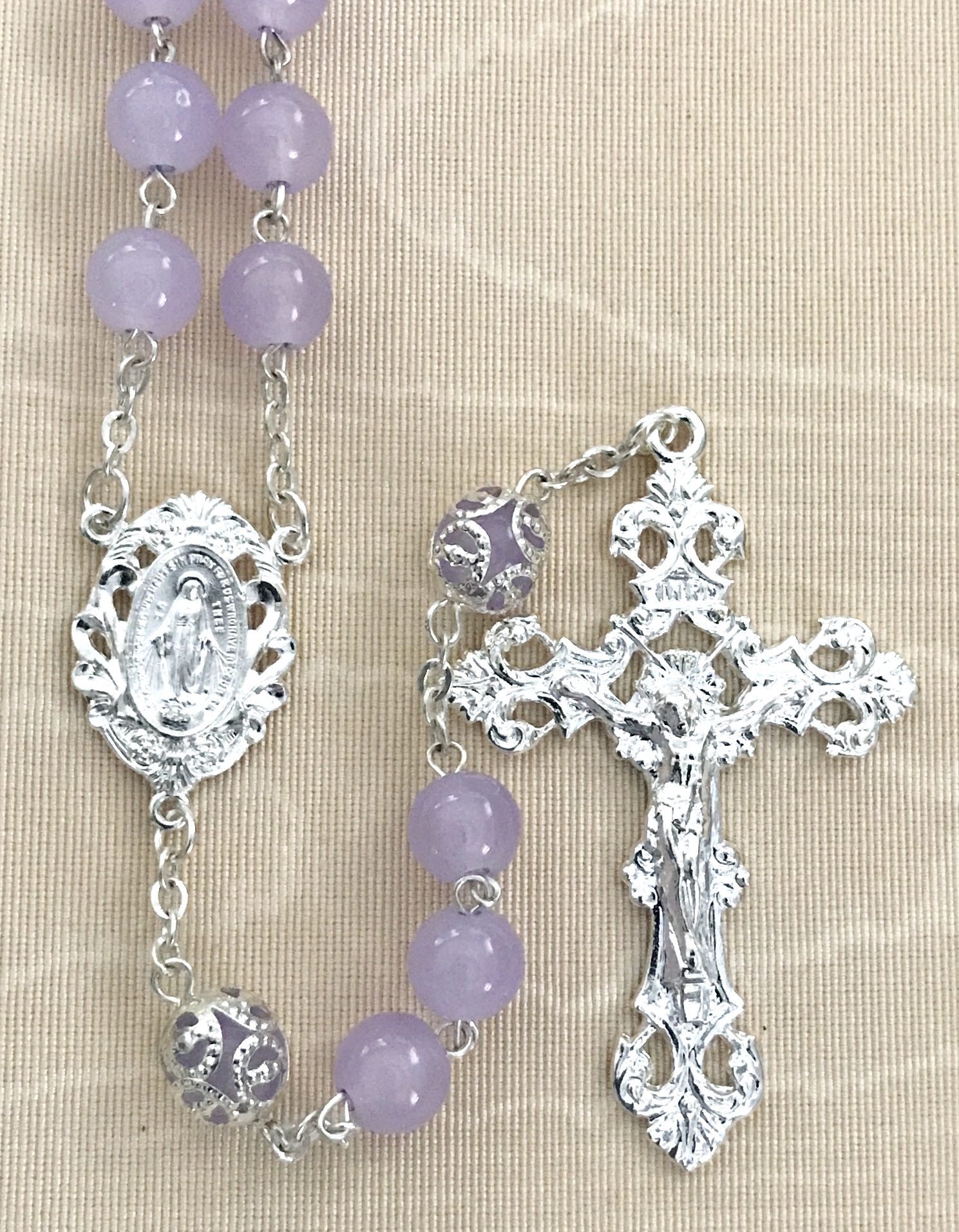 8mm AMETHYST  ROMAGNA ROSARY WITH CAPPED OUR FATHER BEADS AND STERLING SILVER PLATED CRUCIFIX AND CENTER GIFT BOXED