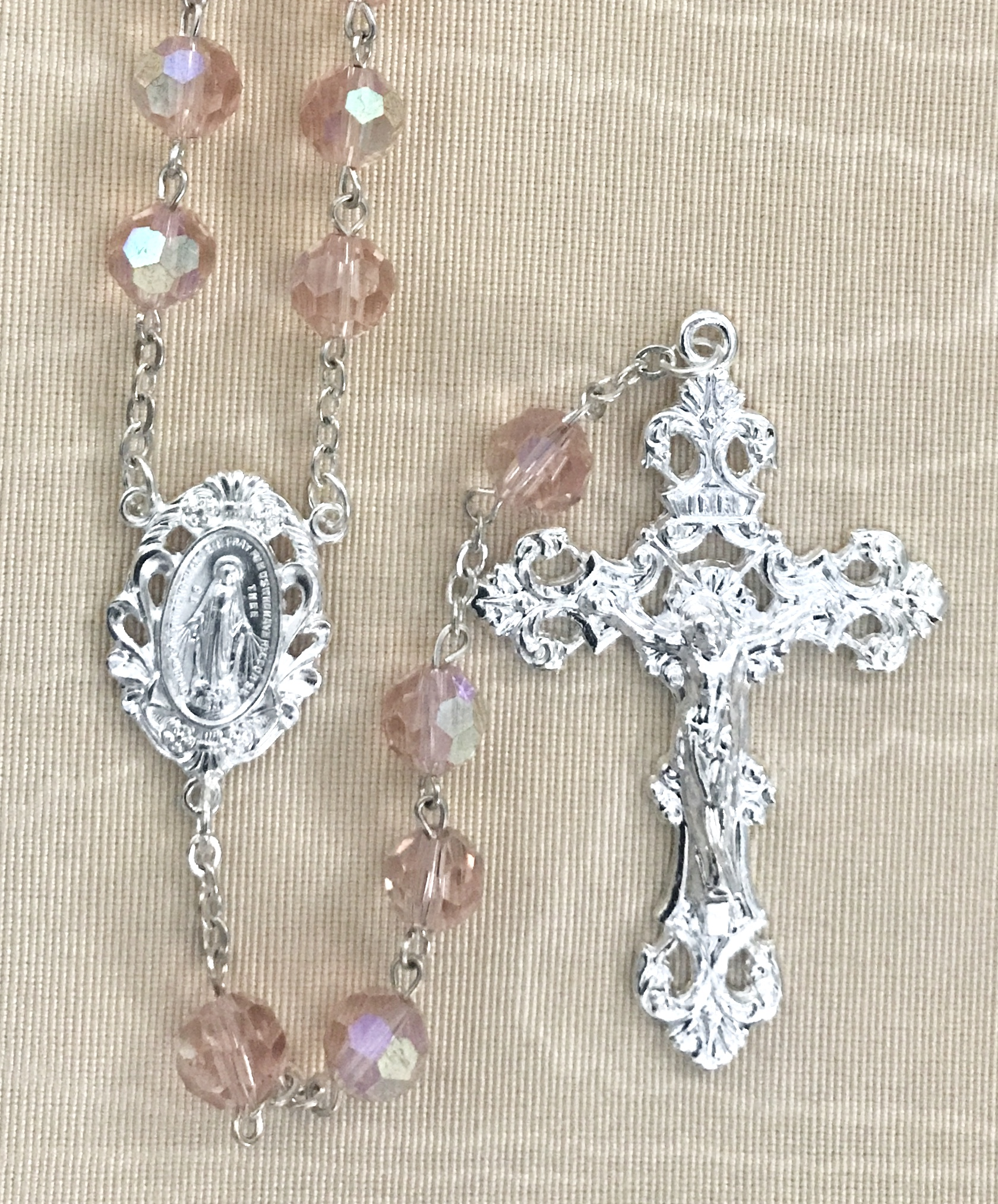 8mm PINK TIN CUT ROSARY WITH STERLING SILVER PLATED CRUCIFIX AND CENTER GIFT BOXED