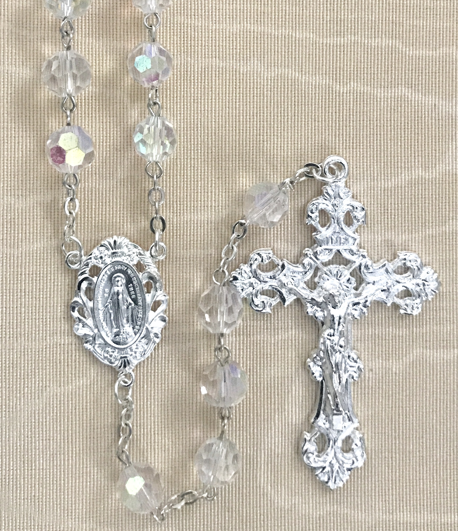 8mm CRYSTAL TIN CUT ROSARY WITH STERLING SILVER PLATED CRUCIFIX AND CENTER GIFT BOXED