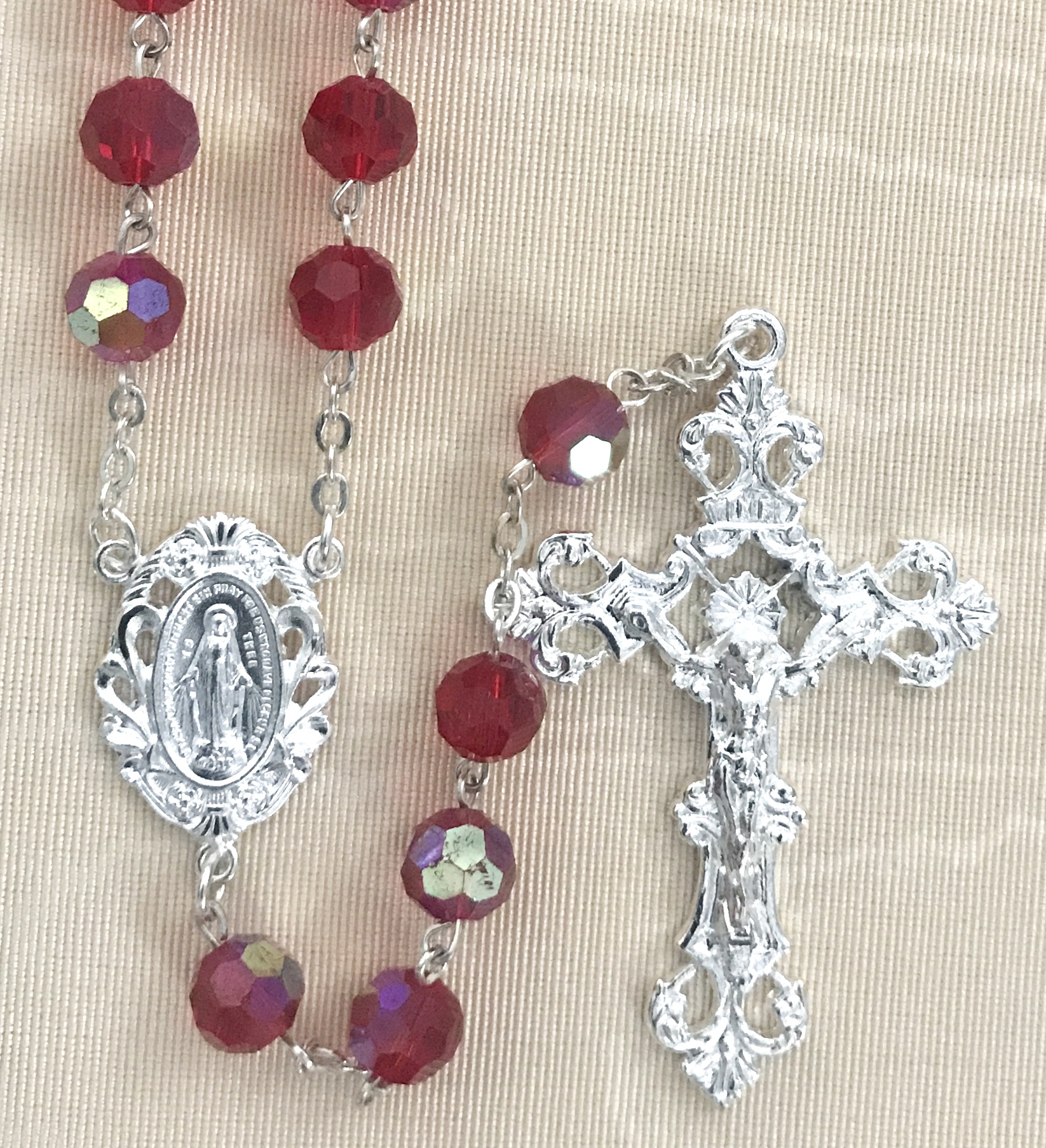 8mm RUBY TIN CUT ROSARY WITH STERLING SILVER PLATED CRUCIFIX AND CENTER GIFT BOXED