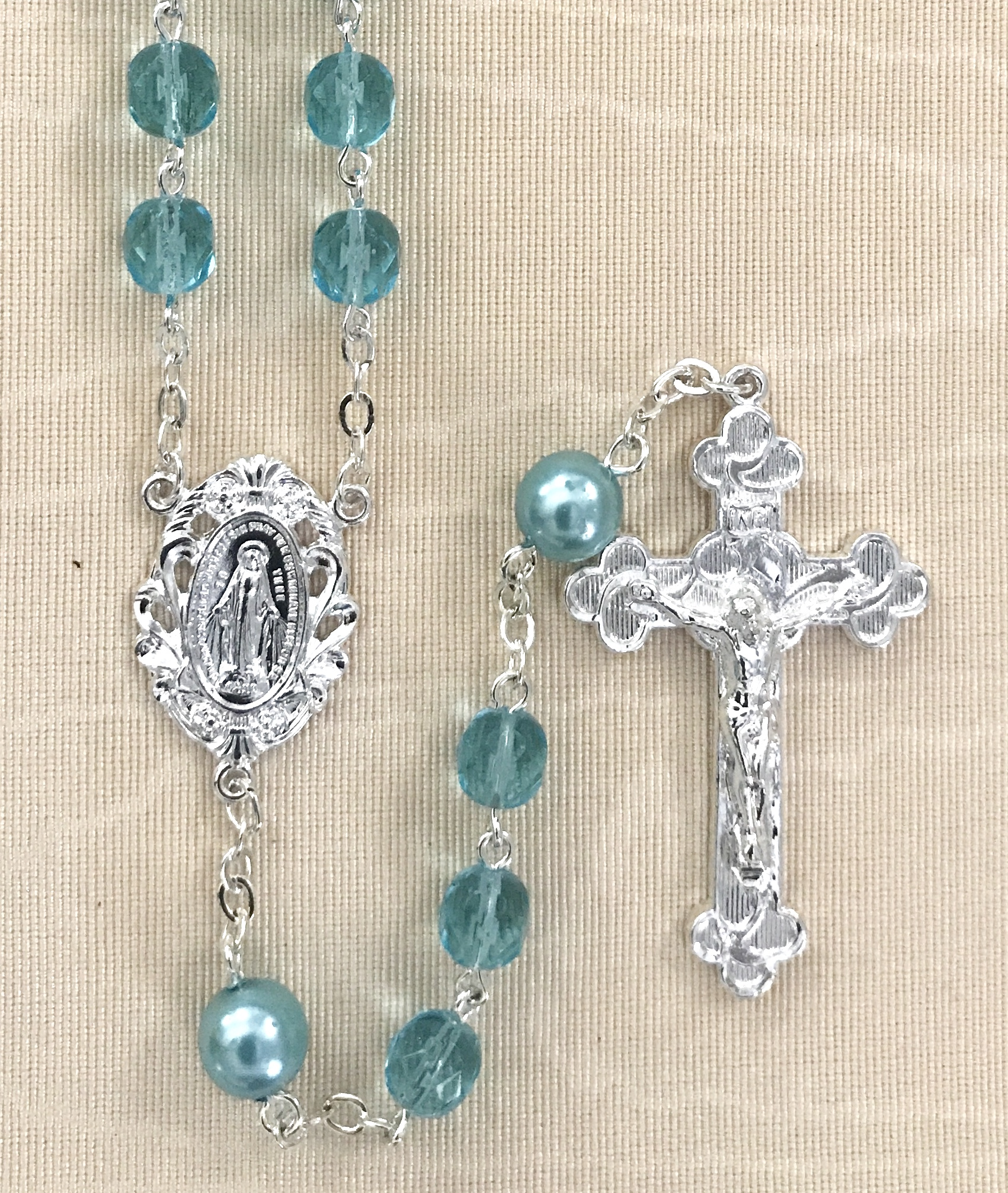6mm AQUA WITH PEARL OUR FATHER BEADS STERLING SILVER PLATED ROSARY GIFT BOXED