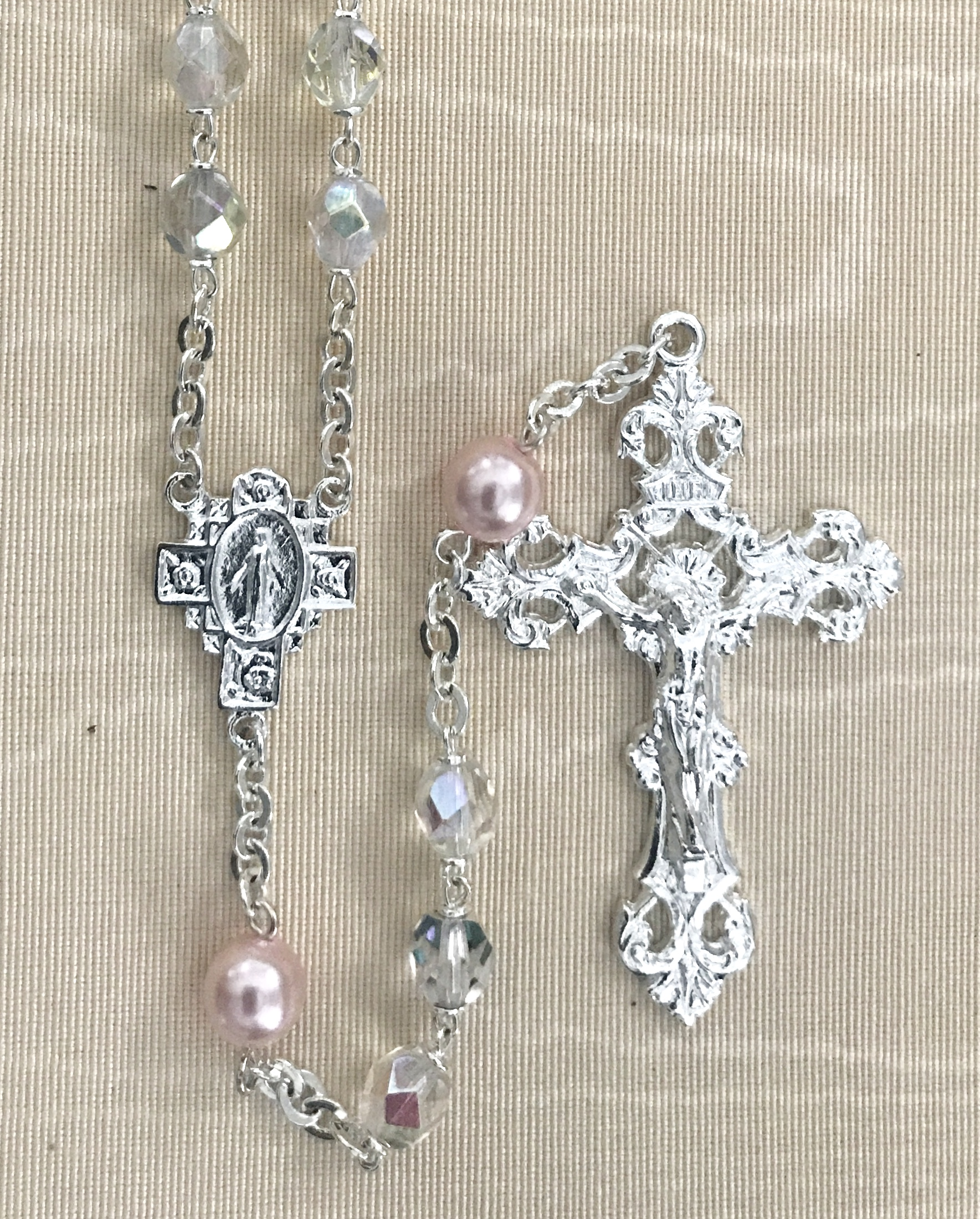 October 7mm CRYSTAL AB with ROSE PEARL OURFATHER BEADS  S.S. PLATE LOC-LINK - GIFT BOXED
