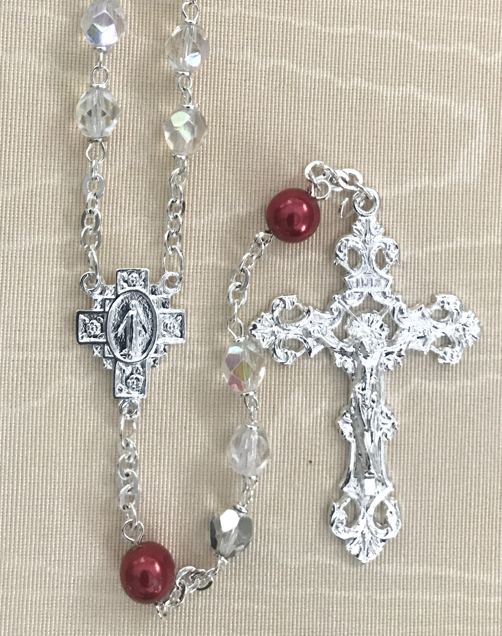 July 7mm CRYSTAL AB with RUBY PEARL OUR FATHER BEADS  S.S. PLATE LOC-LINK - GIFT BOXED