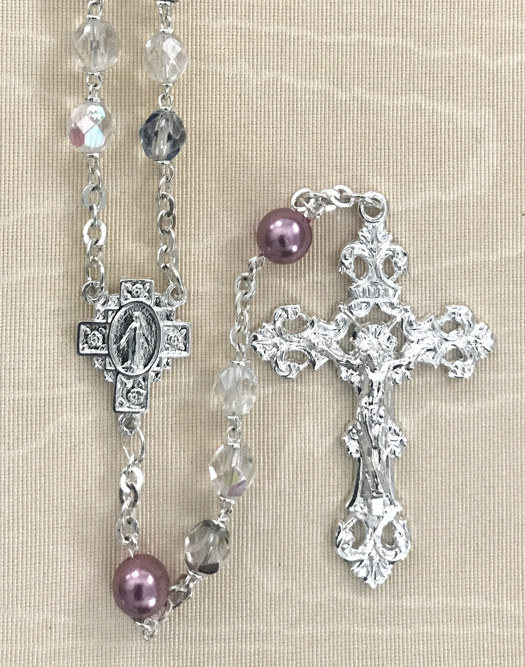 7mm CRYSTAL AB WITH DARK AMETHYST PEARL OUR FATHER BEADS STERLING SILVER PLATED ROSARY GIFT BOXED