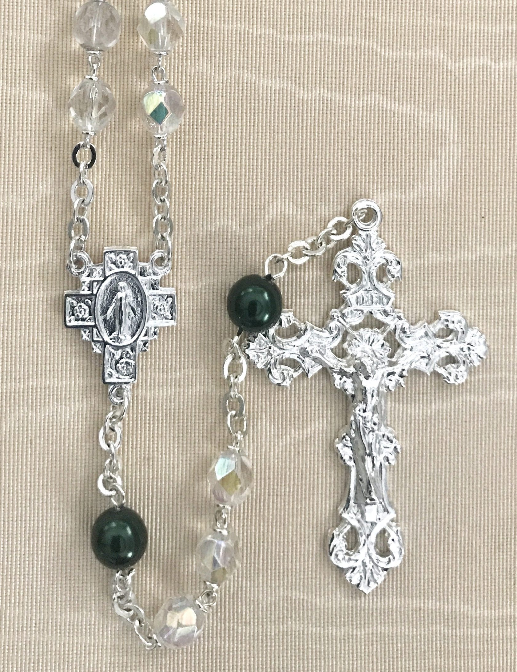 May 7mm CRYSTAL AB with EMERALD PEARL OUR FATHER BEADS S.S. PLATE LOC-LINK - GIFT BOXED