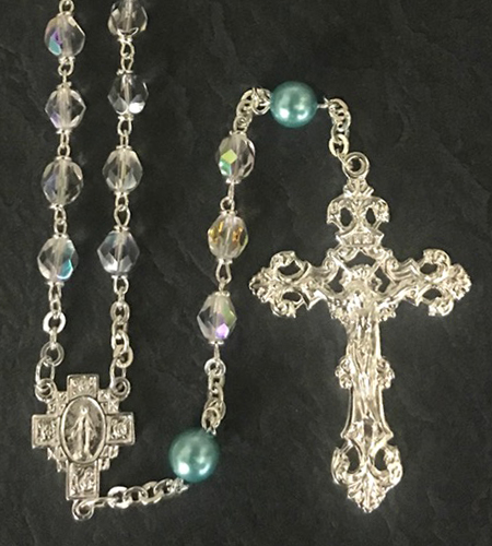 March 7mm CRYSTAL AB with AQUA PEARL OUR FATHER BEADS S.S. PLATE LOC-LINK - GIFT BOXED