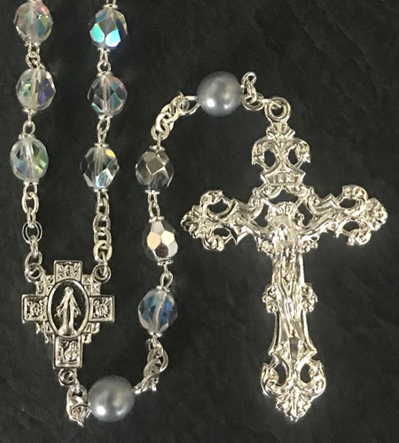 April 7mm CRYSTAL AB with PEARL OUR FATHER BEADS S.S. PLATE LOC-LINK - GIFT BOXED
