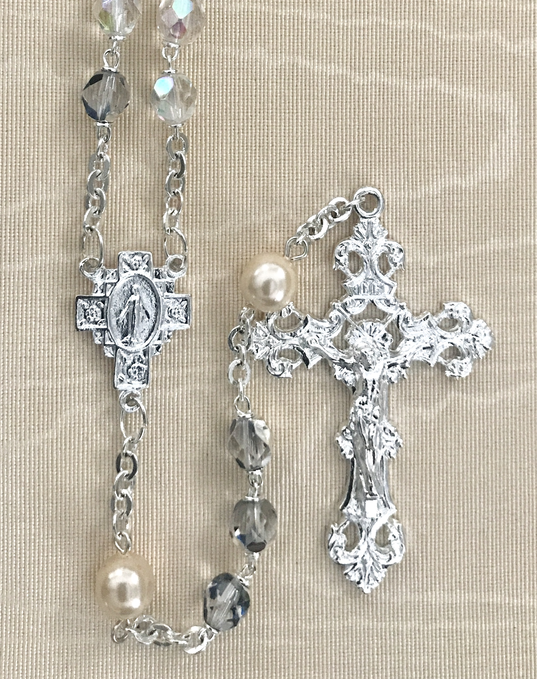 7mm CRYSTAL AB WITH PEARL OUR FATHER BEADS STERLING SILVER PLATED ROSARY GIFT BOXED