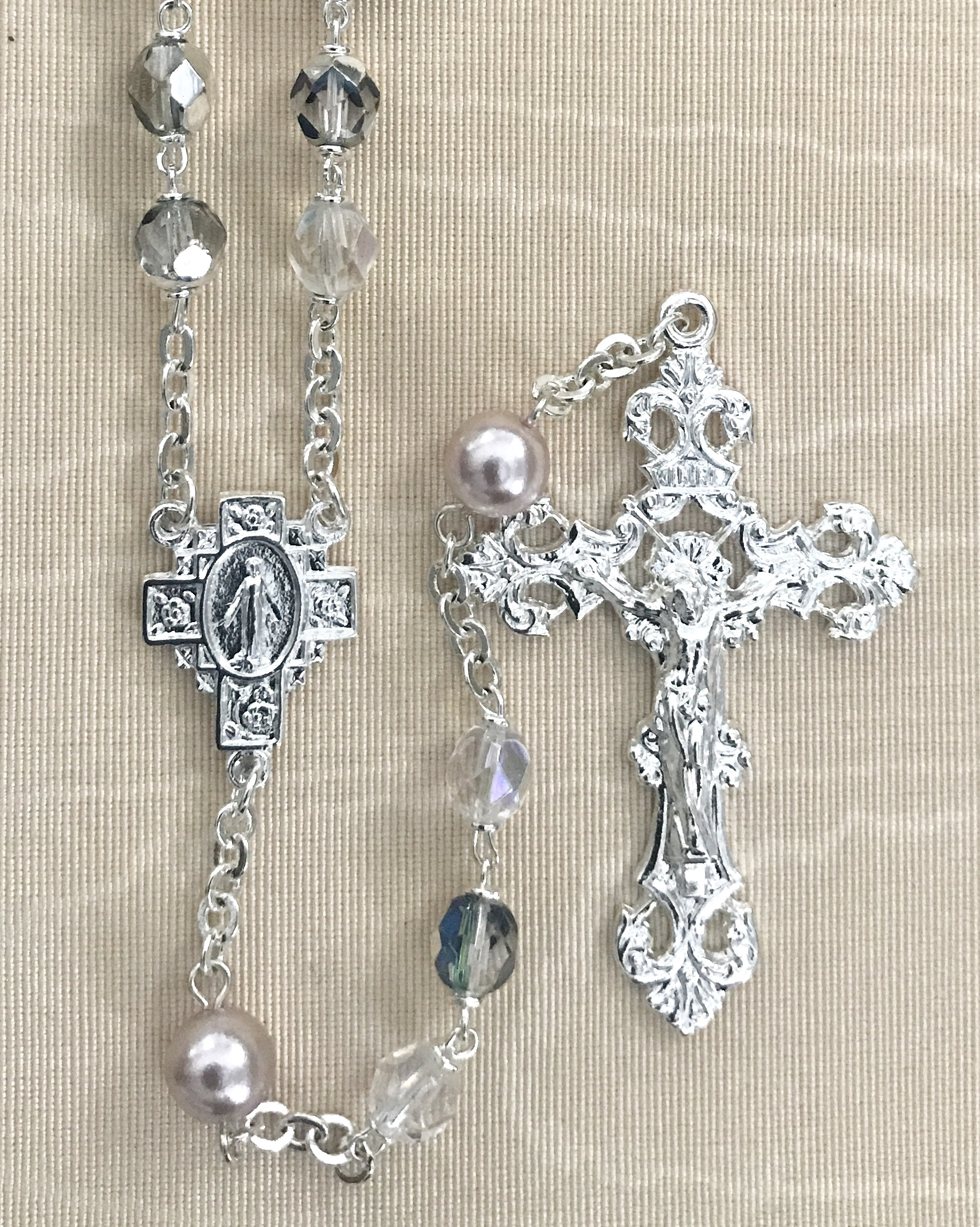 7mm CRYSTAL AB WITH LIGHT AMETHYST  PEARL OUR FATHER BEADS STERLING SILVER PLATED ROSARY BOXED