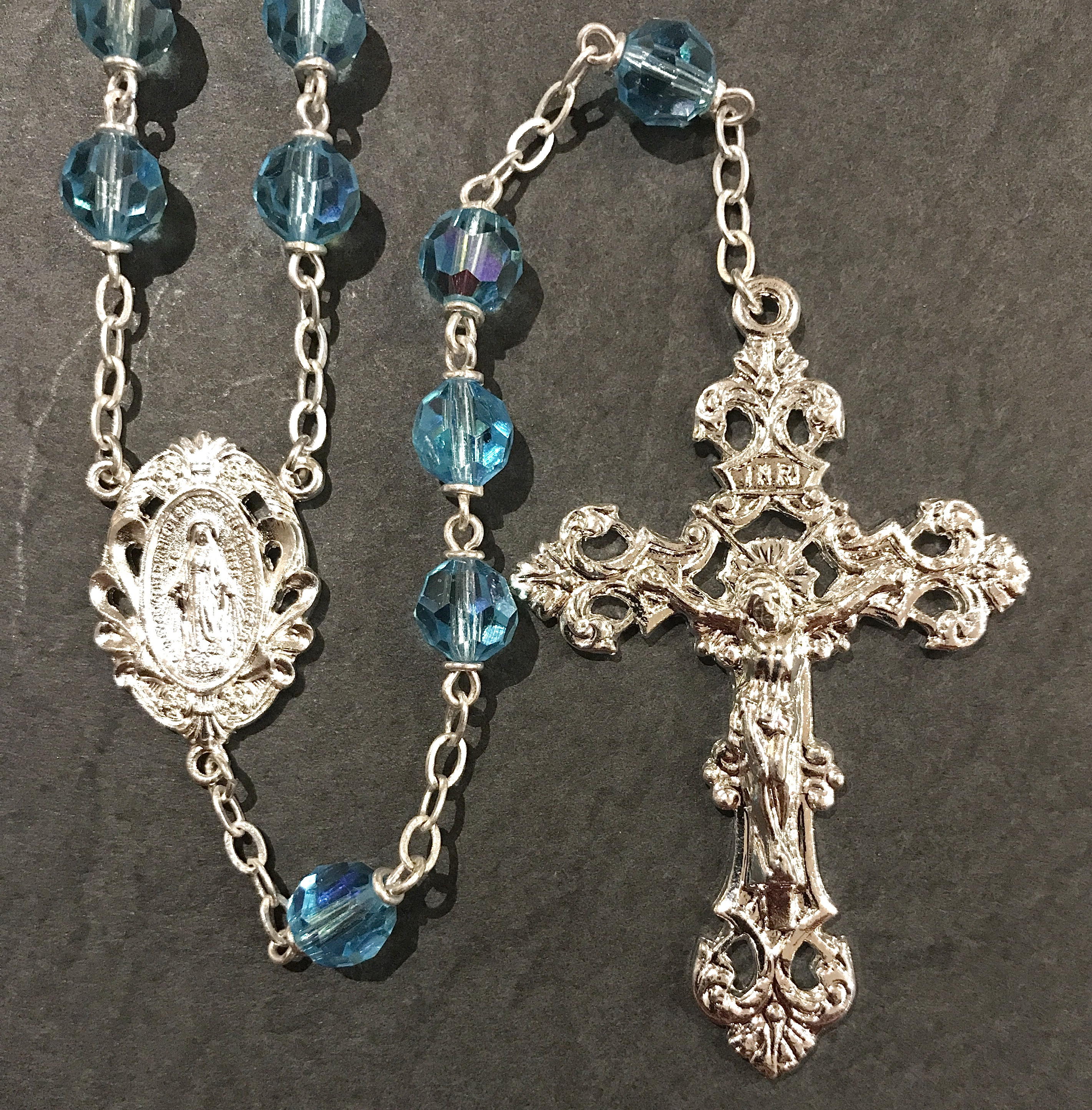 7mm AQUA TIN CUT AB ROSARY WITH STERLING SILVER PLATED CRUCIFIX, CENTER, WIRE, CHAIN GIFT BOXED