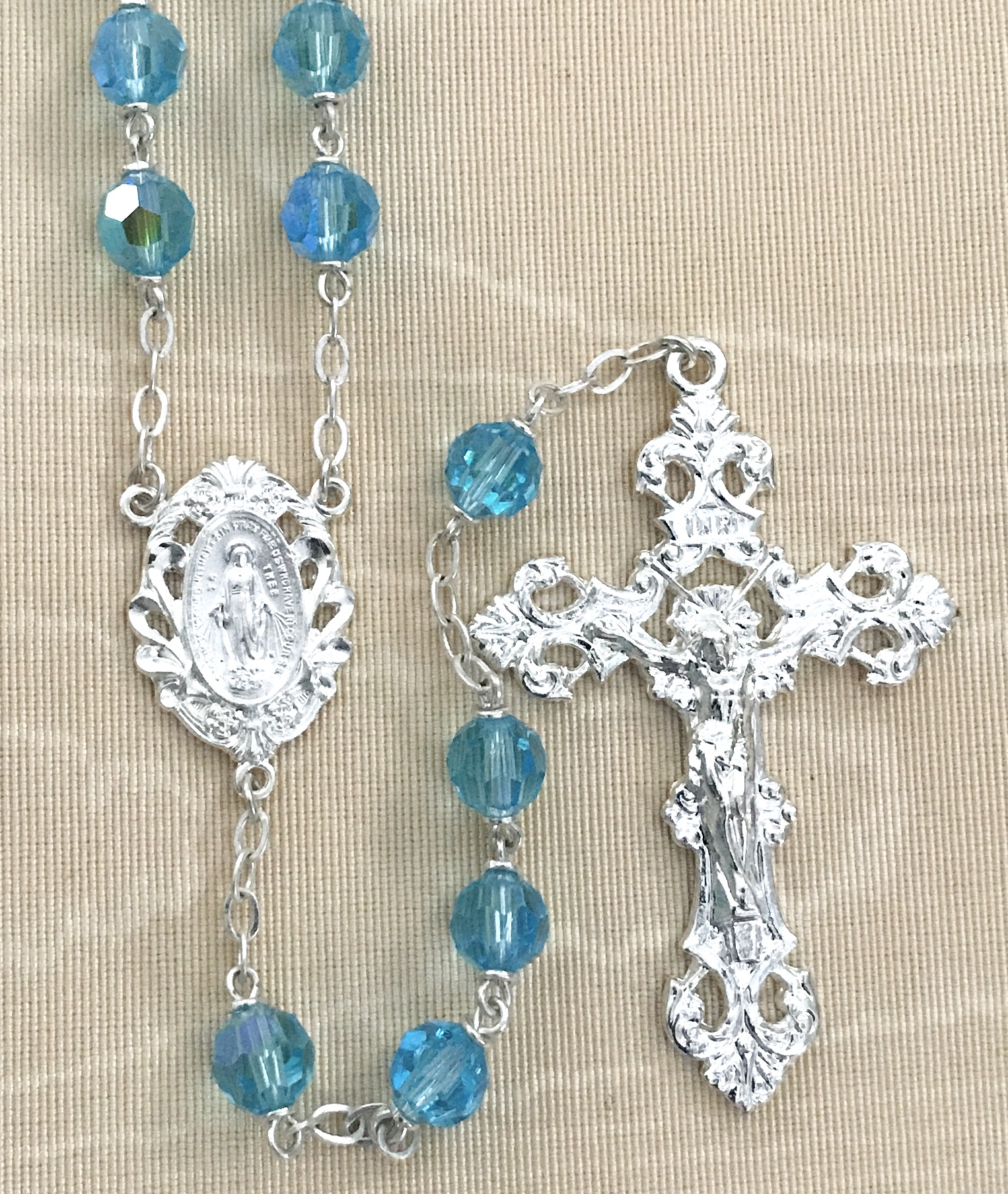 7mm AQUA TIN CUT AB STERLING SILVER PLATED ROSARY GIFT BOXED