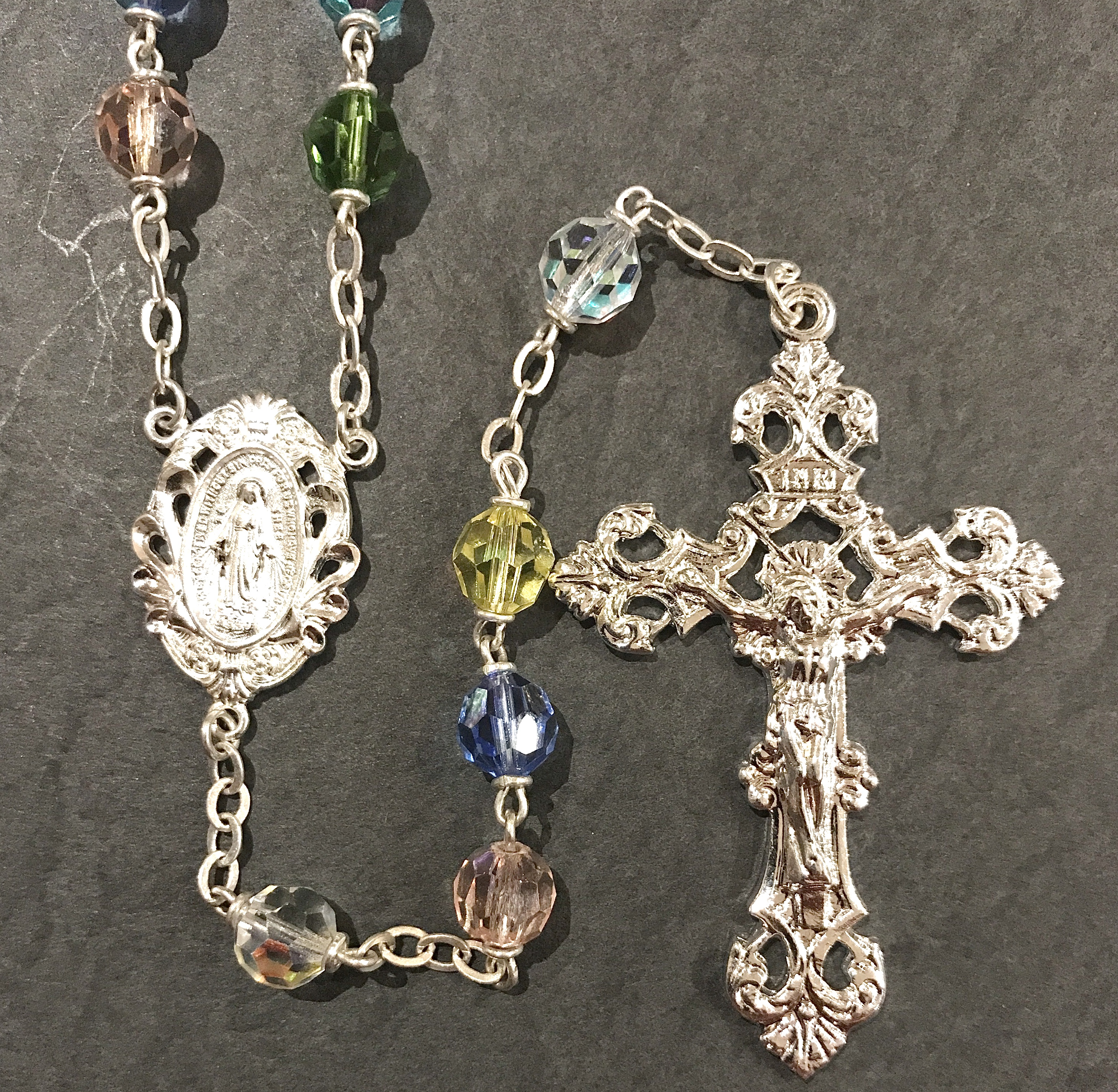 7mm MULTI COLOR TIN CUT AB ROSARY WITH STERLING SILVER PLATED CRUCIFIX, CENTER, WIRE, CHAIN GIFT BOXED