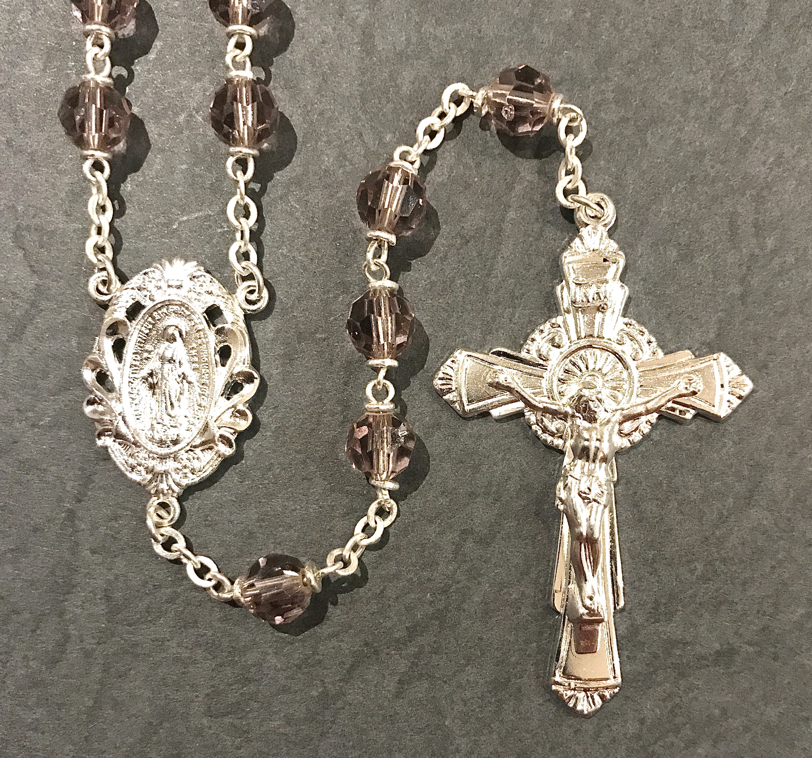 6mm AMETHYST TIN CUT LOC-LINK ROSARY WITH STERLING SILVER PLATED CRUCIFIX, CENTER, WIRE, CHAIN GIFT BOXED