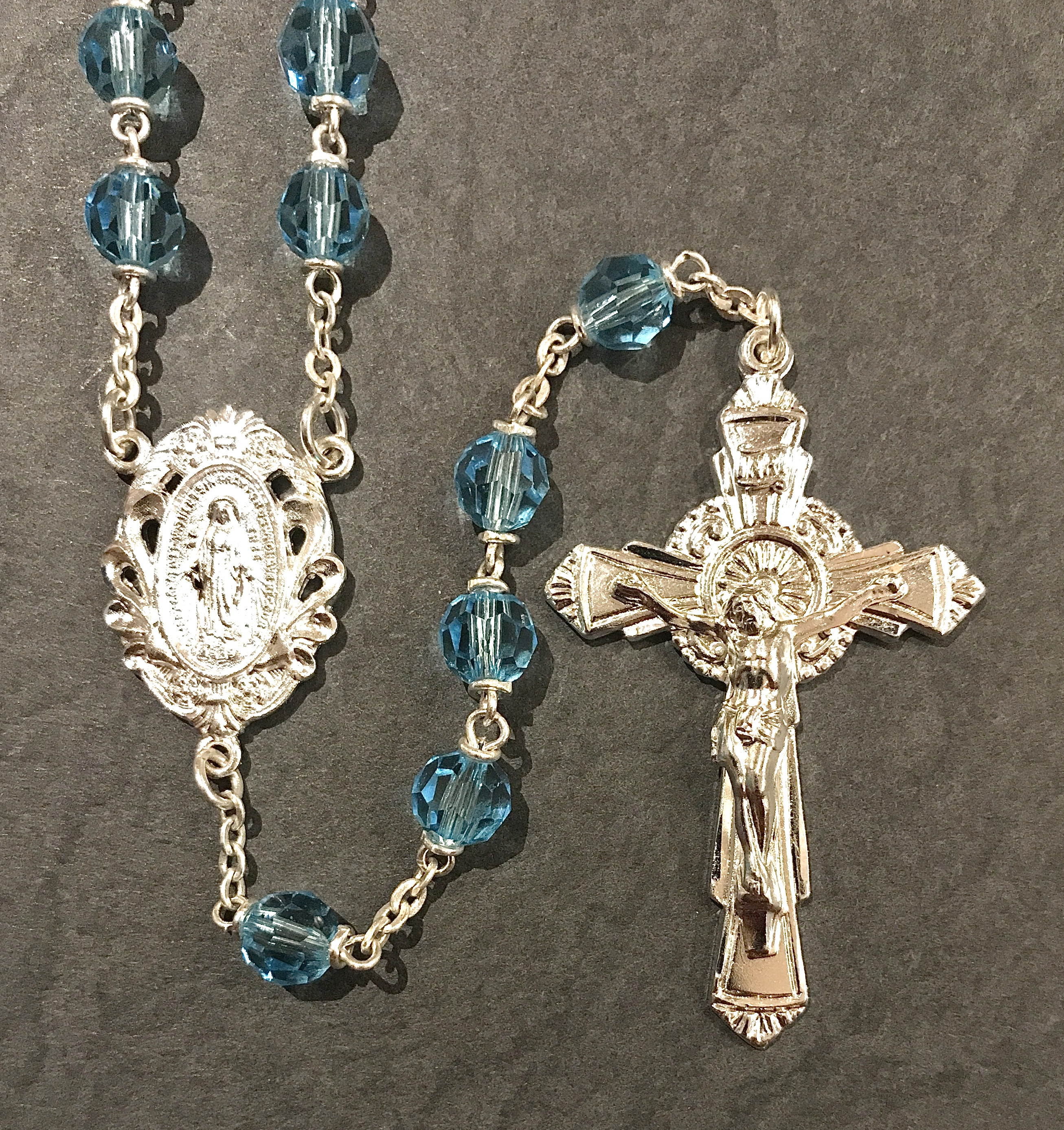 6mm AQUA TIN CUT LOC-LINK ROSARY WITH STERLING SILVER PLATED CRUCIFIX, CENTER, WIRE, CHAIN GIFT BOXED