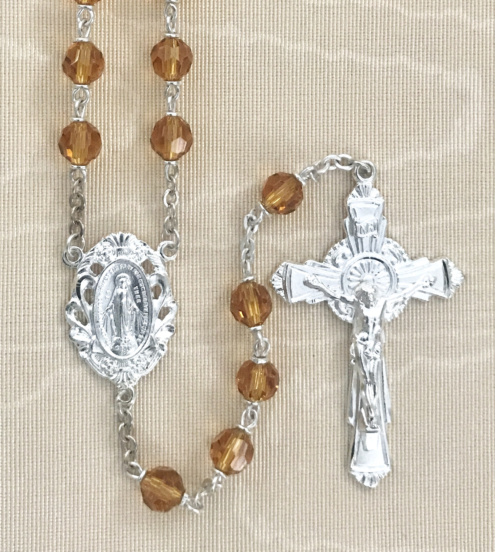 6mm TOPAZ TIN CUT LOC-LINK STERLING SILVER PLATED ROSARY GIFT BOXED