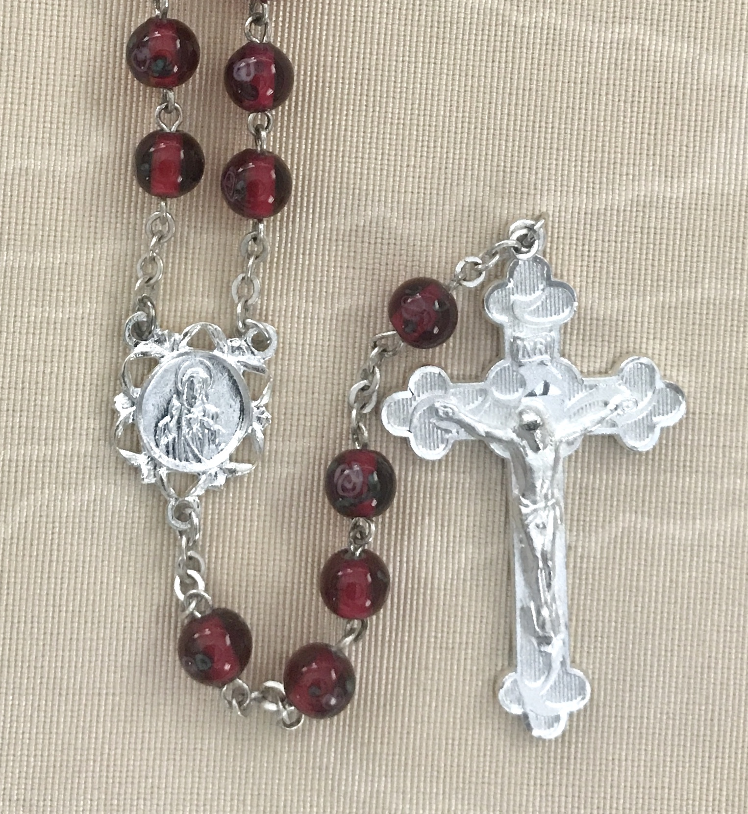 6mm HAND PAINTED RUBY LAMP BEAD STERLING SILVER PLATED ROSARY GIFT BOXED