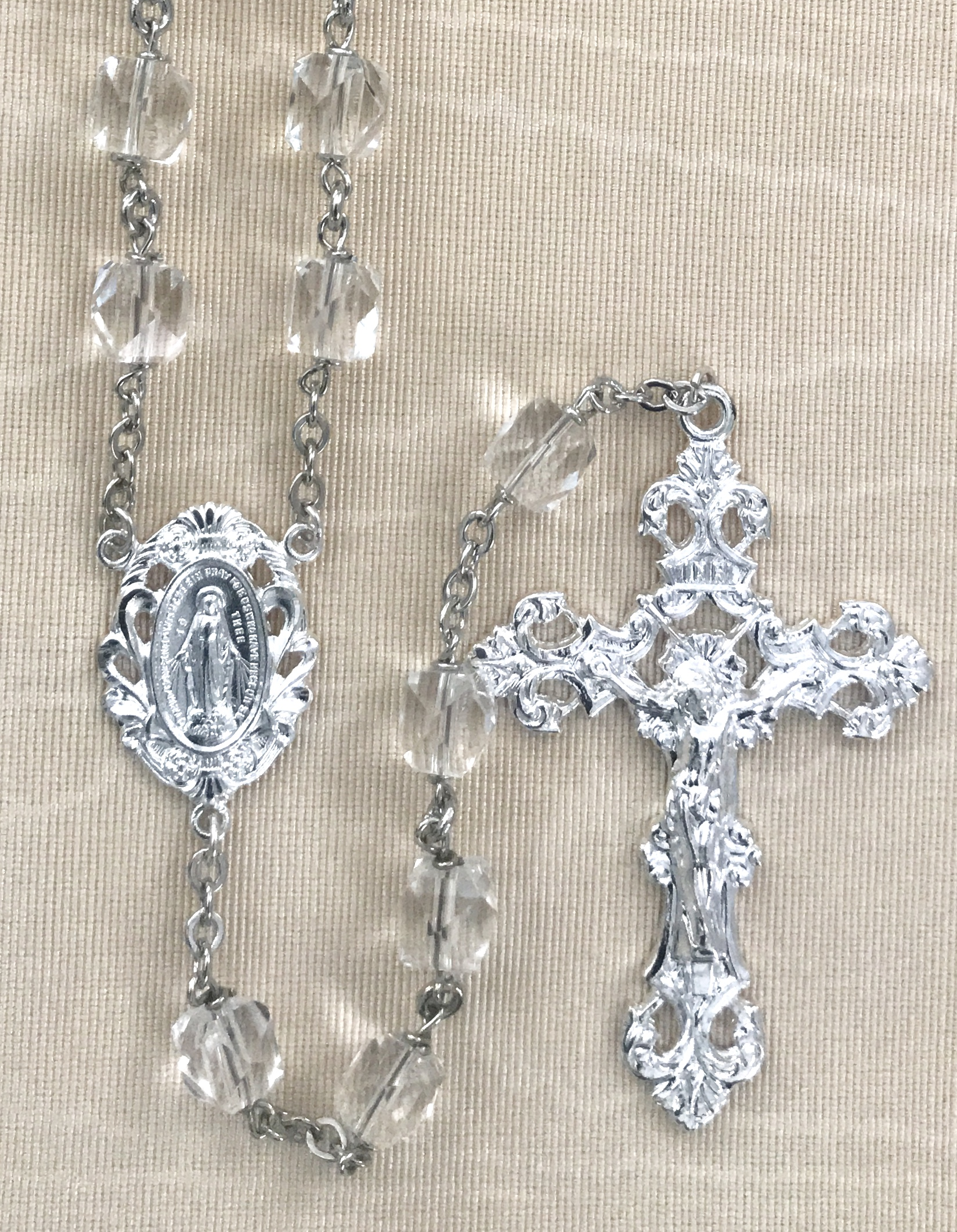 7mm MULTI FACETTED ROCK CRYSTAL BEAD STERLING SILVER PLATED ROSARY GIFT BOXED