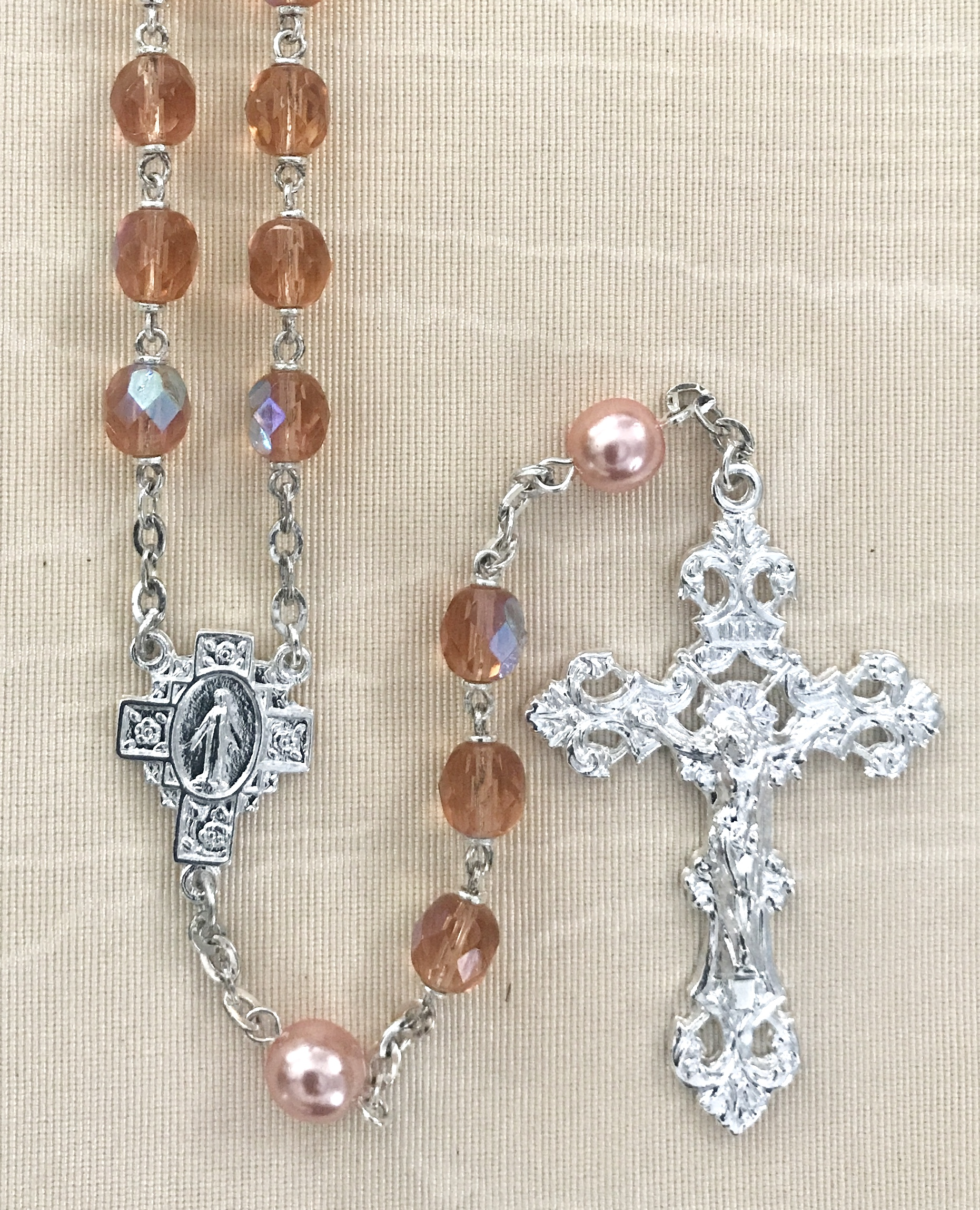 7mm CORAL AB WITH CORAL PEARL OUR FATHER BEADS STERLING SILVER PLATED ROSARY GIFT BOXED