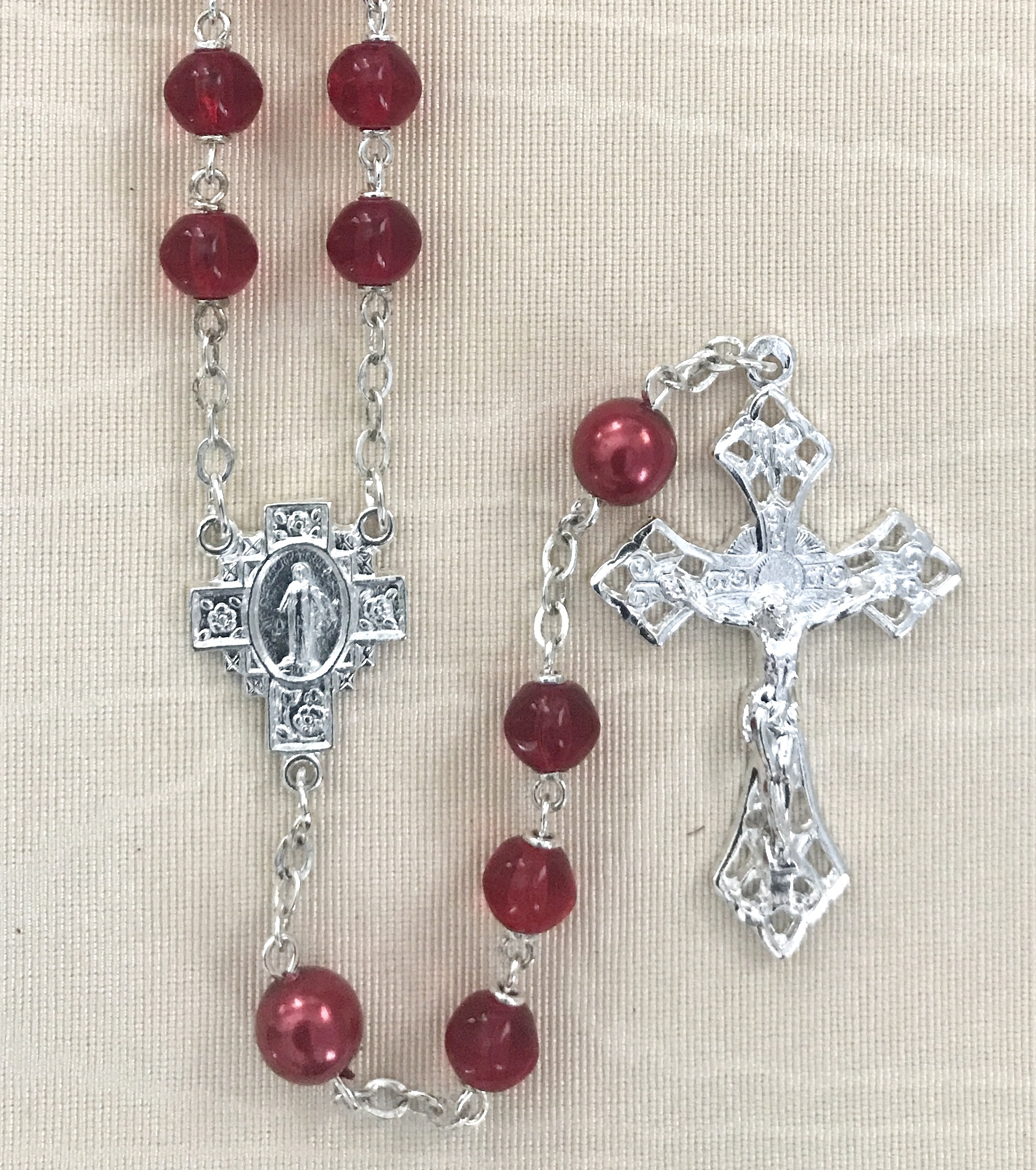 7mm RUBY WITH RED PEARL OUR FATHER BEADS STERLING SILVER PLATED ROSARY GIFT BOXED