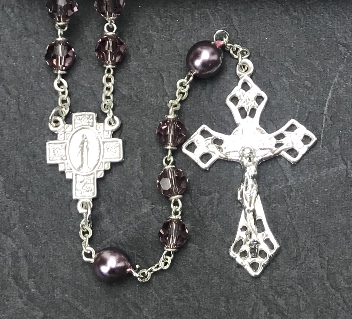 6mm AMETHYST TIN CUT WITH PEARL OUR FATHER BEADS WITH STERLING SILVER PLATE ROSARY BOXED