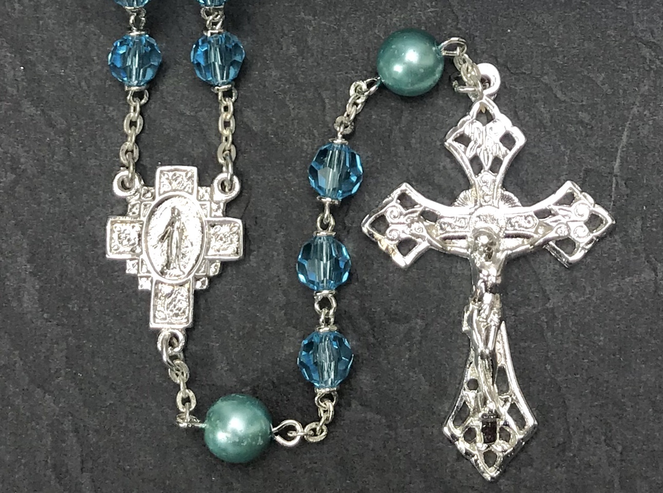 6mm AQUA TIN CUT WITH PEARL OUR FATHER BEADS WITH STERLING SILVER PLATE ROSARY BOXED