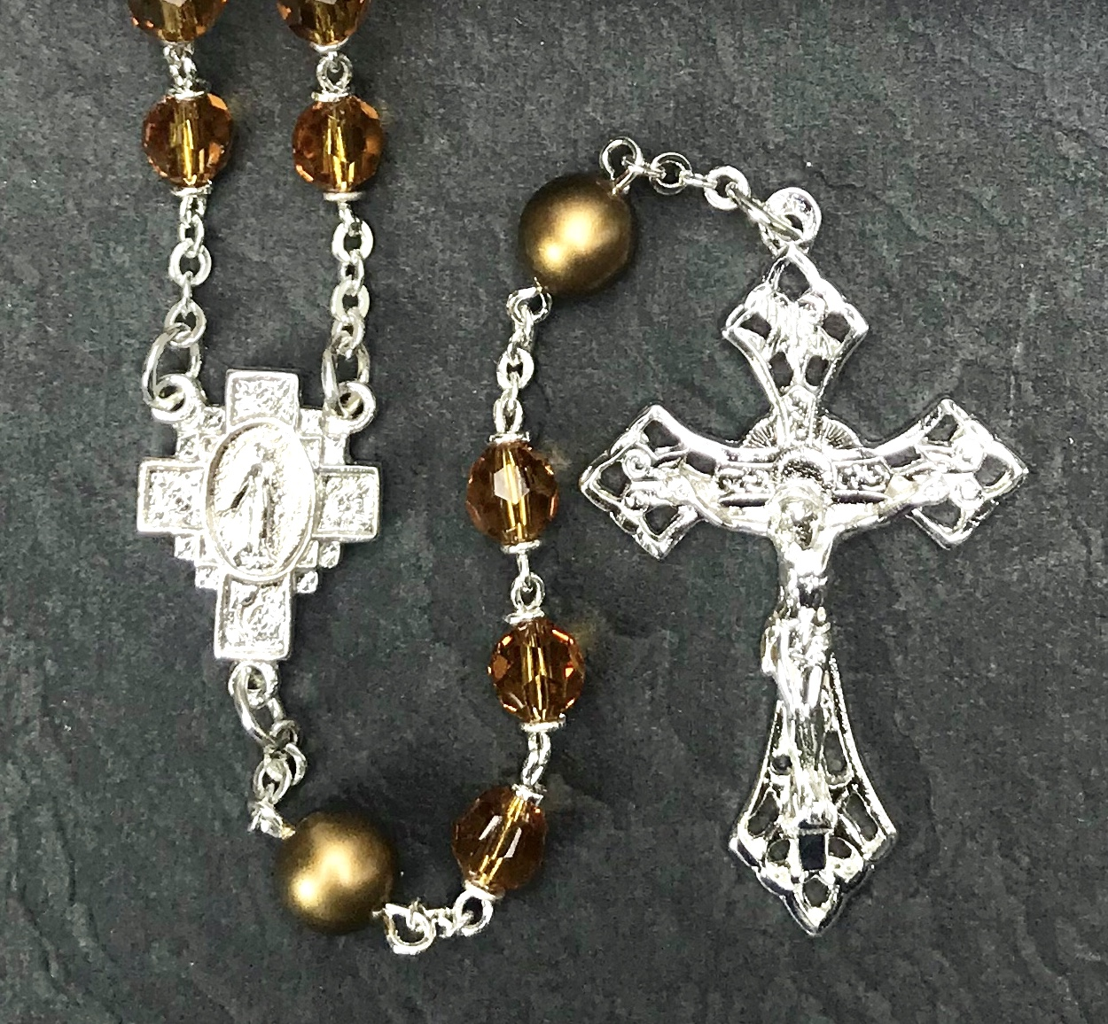 6mm TOPAZ TIN CUT WITH PEARL OUR FATHER BEADS WITH STERLING SILVER PLATE ROSARY BOXED