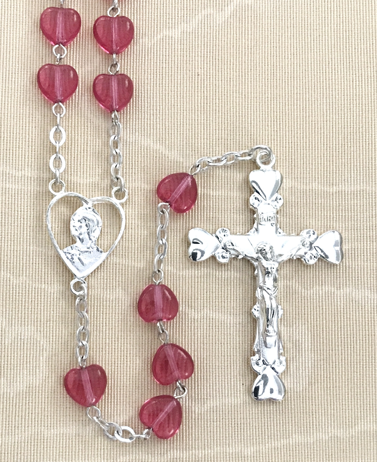 8x8mm ROSE HEART SHAPE WITH PEARL OUR FATHER BEADS STERLING SILVER PLATED ROSARY GIFT BOXED