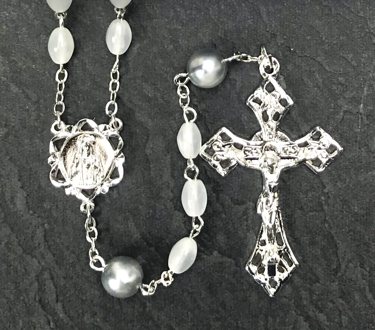 6x8mm PEARL WITH SILVER O.F. BEADS STERLING SILVER PLATE ROSARY BOXED