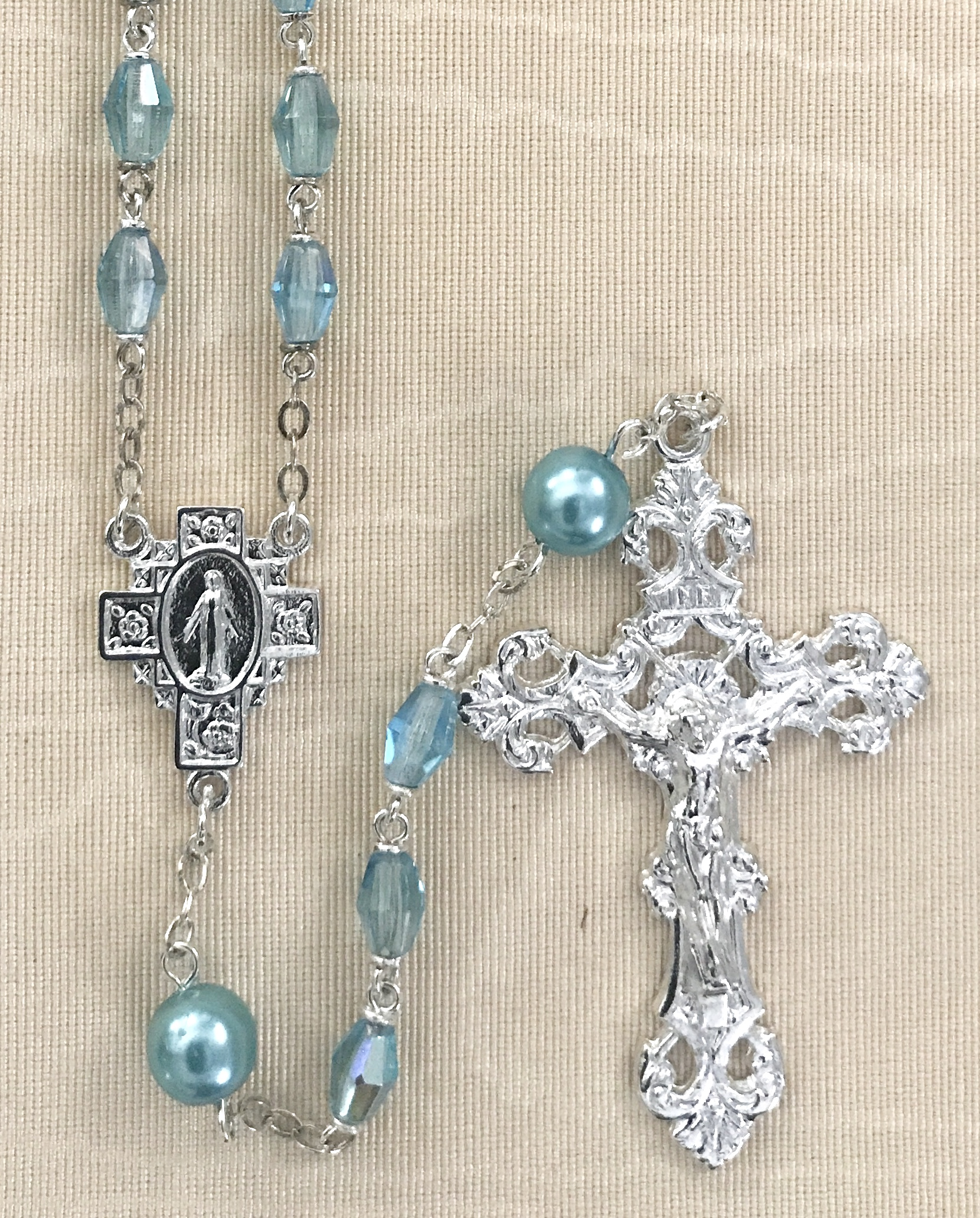 6x8mm AQUA LOC LINK WITH AQUA OUR FATHER BEADS STERLING SILVER PLATED ROSARY GIFT BOXED