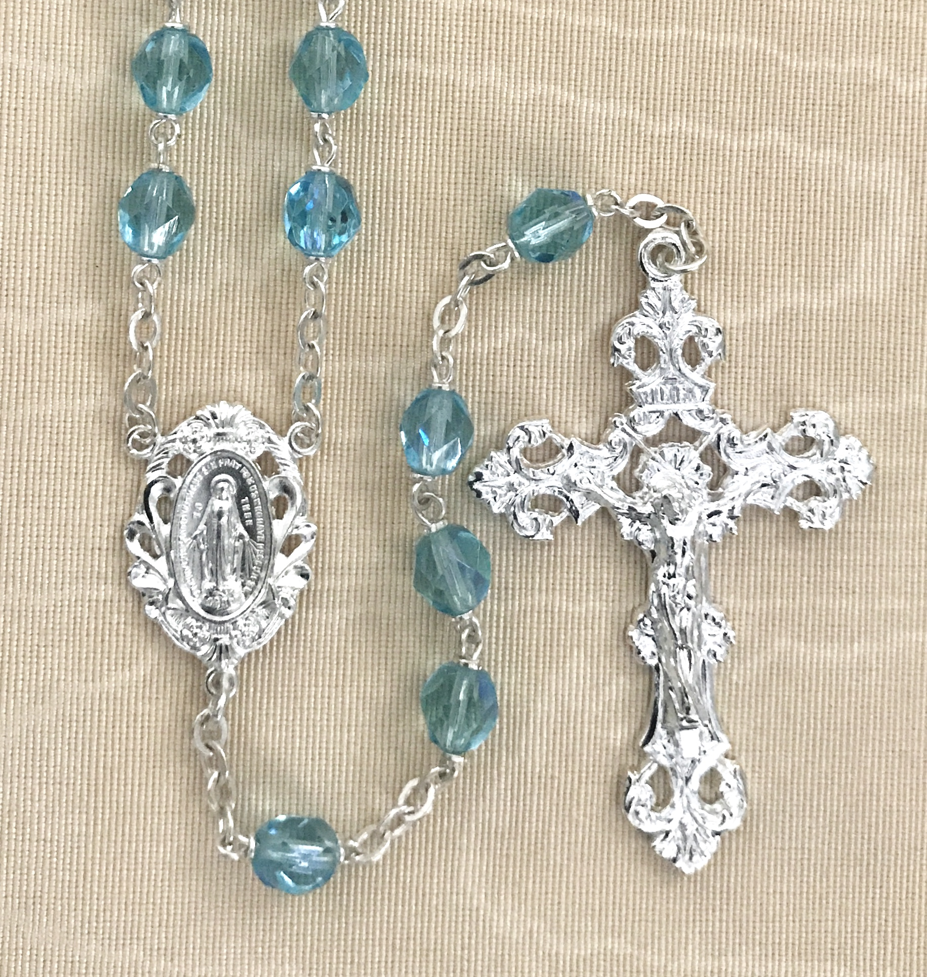 7mm ROUND AQUA AB SILVER STERLING SILVER PLATED ROSARY GIFT BOXED