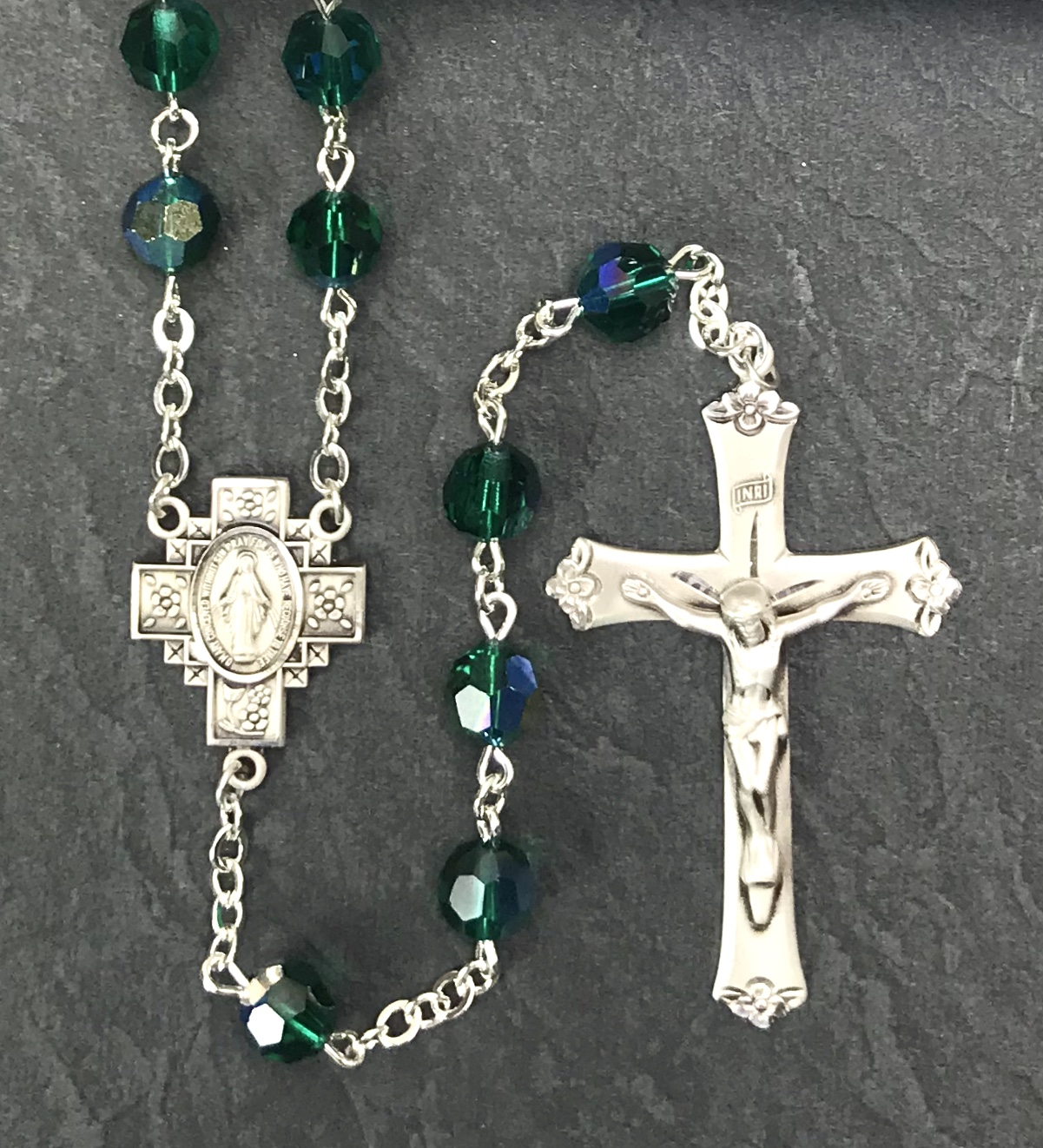7MM EMERALD TIN CUT AB ALL STERLING SILVER ROSARY